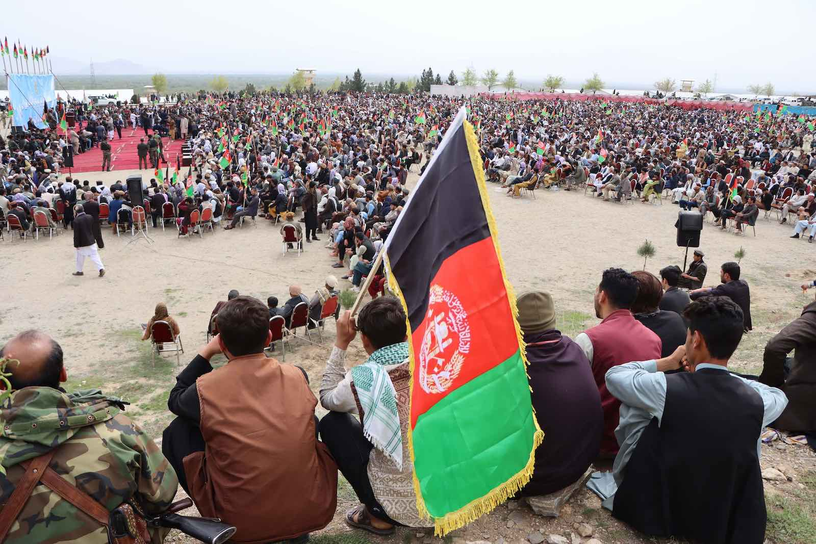Thousands of Afghans attended a rally in Parwan, outside of Kabul, to show support for the peace talks process, 28 March 2021 (Haroon Sabawoon/Anadolu Agency via Getty Images)