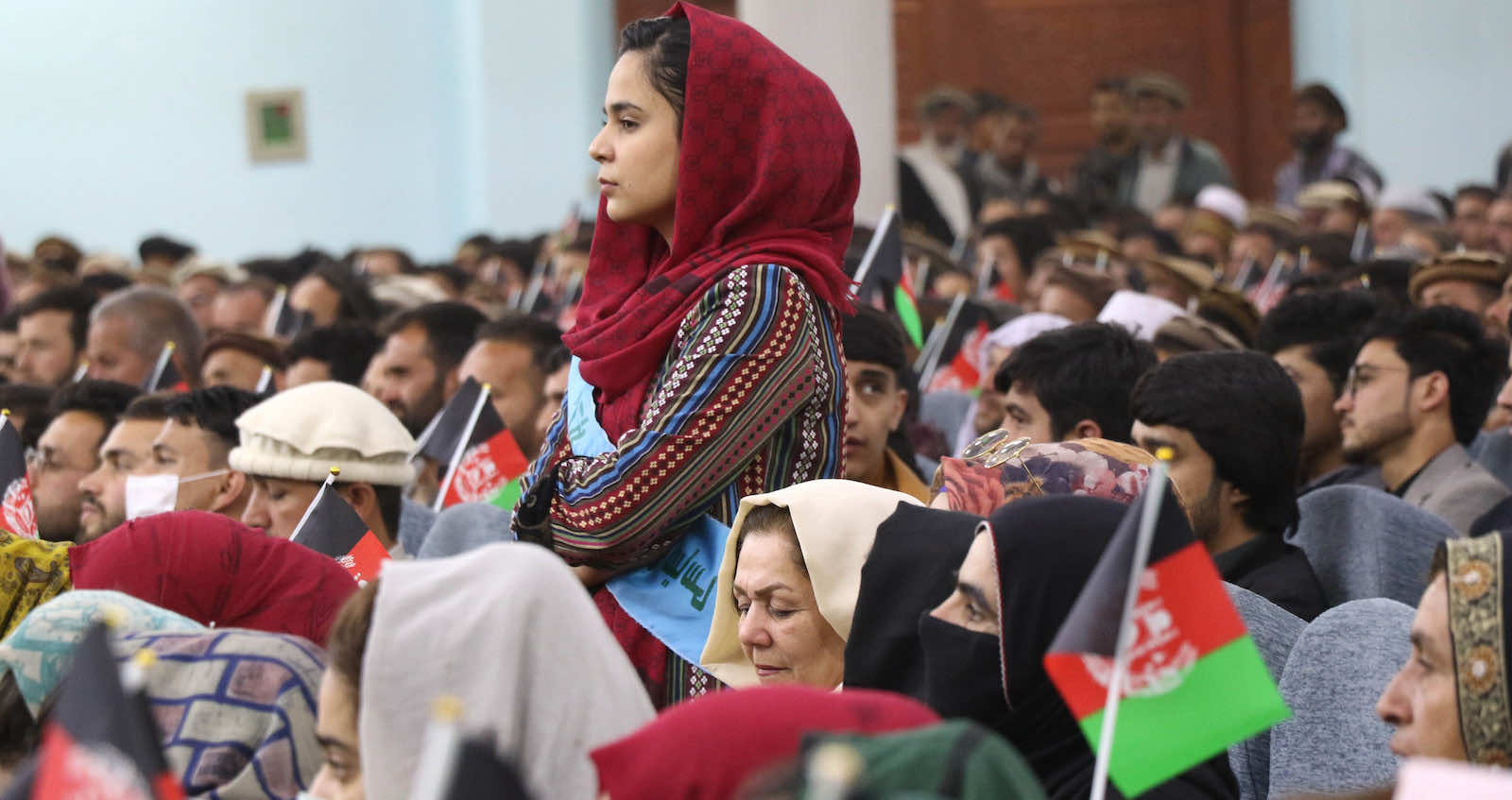 Afghan women, young people, activists and elders rally in March to support peace talks and the government in Kabul, Afghanistan (Haroon Sabawoon/Anadolu Agency via Getty Images)