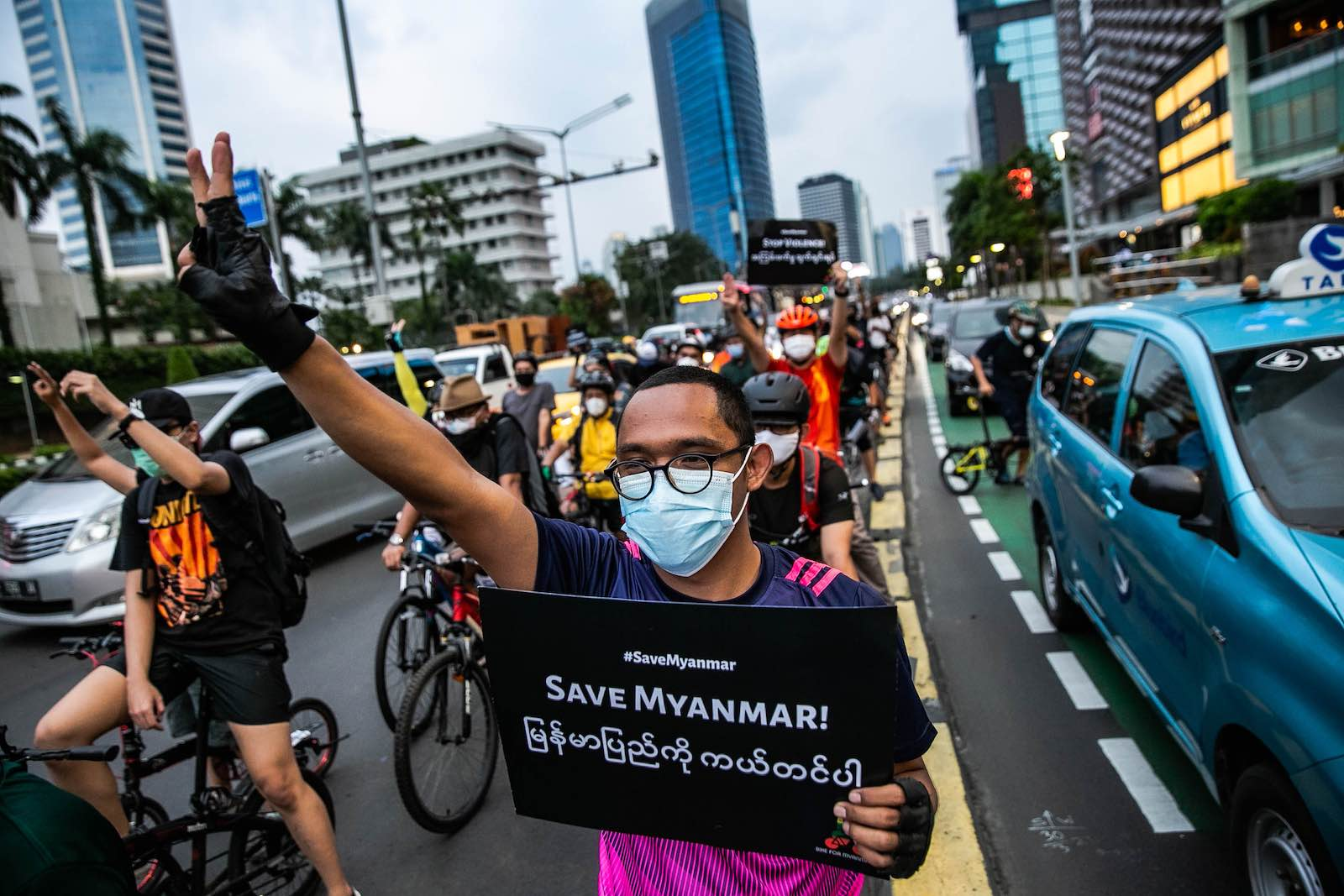 Indonesian bikers protest against the Myanmar military coup, outside the ASEAN secretariat building in Jakarta, 17 April 2021 (Jepayona Delita/Jefta Images/Barcroft Media via Getty Images)