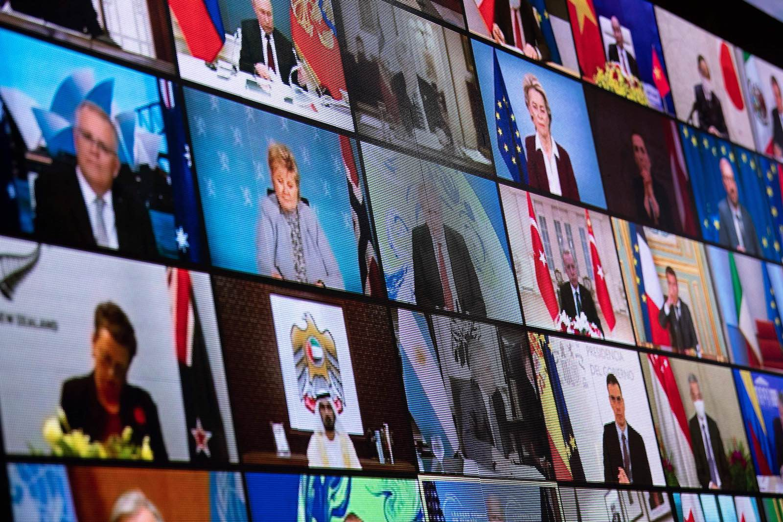 World leaders during a climate change virtual summit from the East Room of the White House (Brendan Smialowski/AFP via Getty Images)