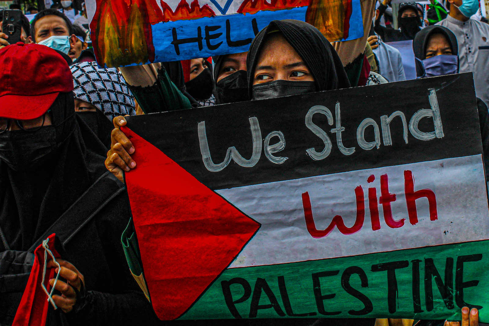 Demonstration in Jakarta in support of Palestinians, 21 May (Fazjri Abdillah/Riau Images/Barcroft Media via Getty Images)