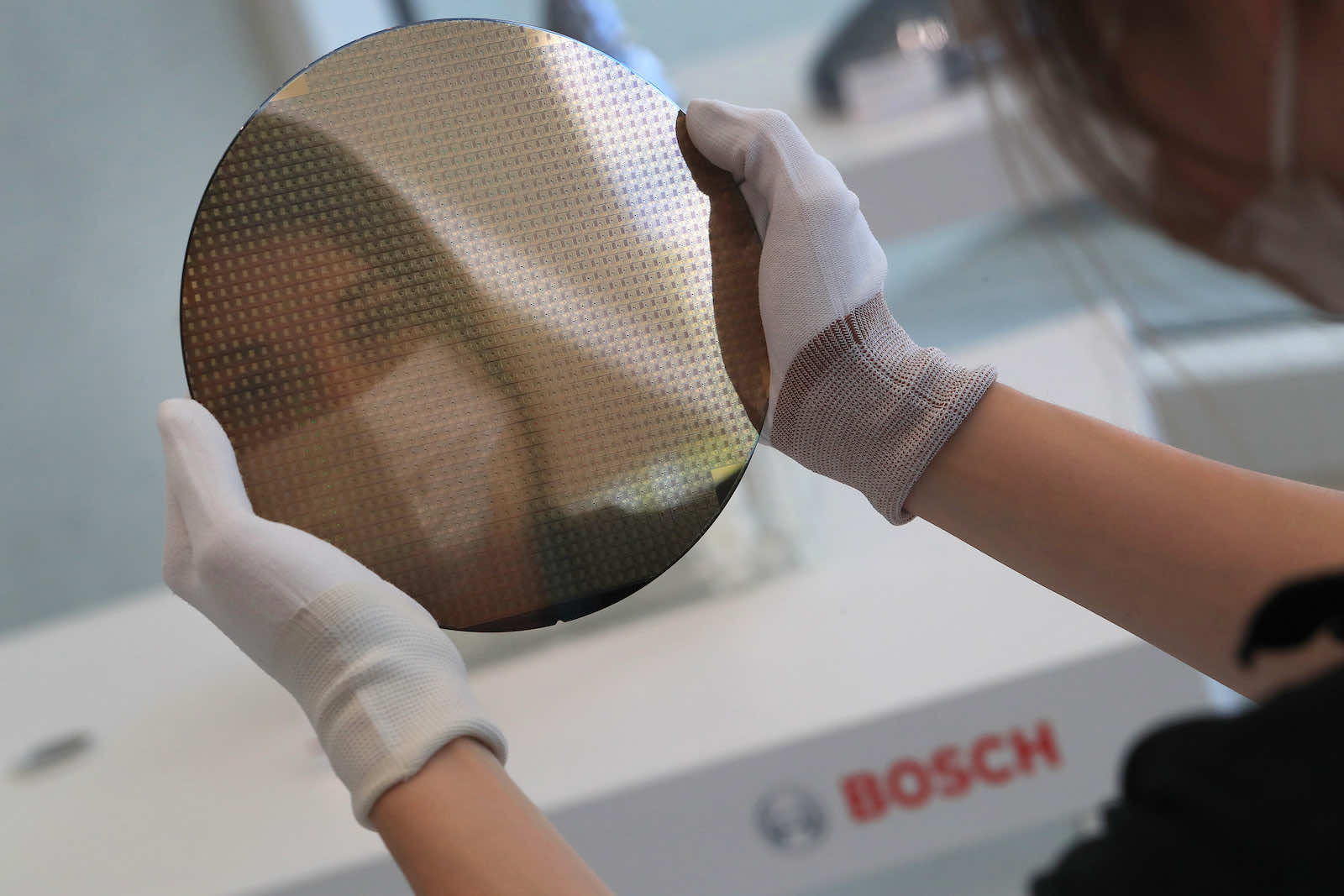 A silicon wafer at the semiconductor fabrication plant operated by Robert Bosch GmbH in Dresden, Germany (Krisztian Bocsi/Bloomberg via Getty Images)