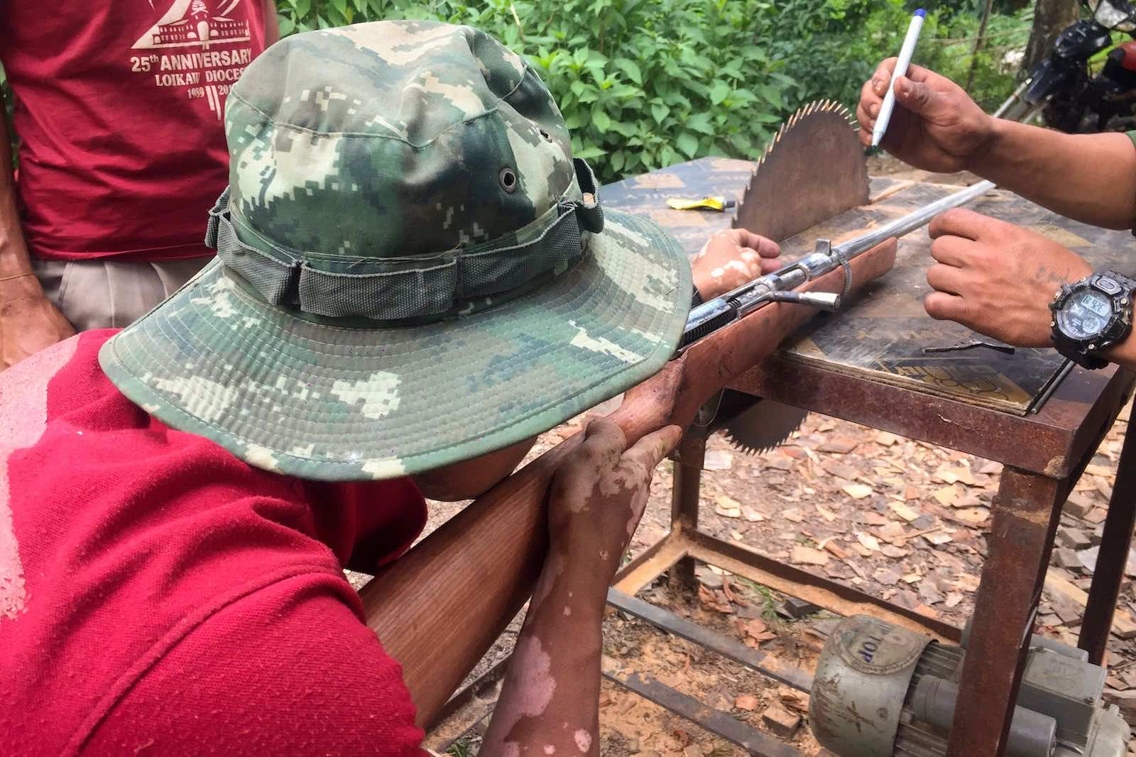 Handmade guns to be used in fighting against security forces, near Demoso, Kayah state, Myanamar, 4 June 2021 (STR/AFP via Getty Images)