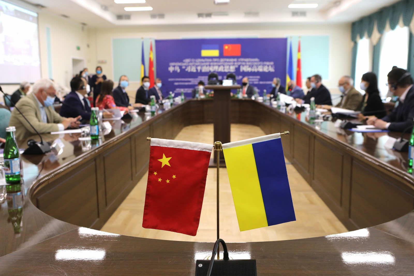The International Ukrainian-Chinese Forum at the Borys Grinchenko Kiev University in June (Yuliia Ovsiannikova/Ukrinform/Barcroft Media via Getty Images)