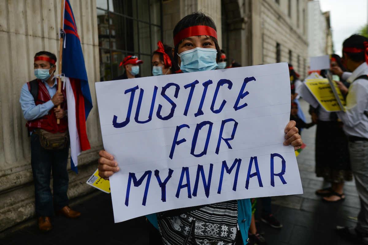Local Myanmar diaspora and supporters rally in Dublin in support of democracy in Myanmar (Artur Widak/NurPhoto via Getty Images)