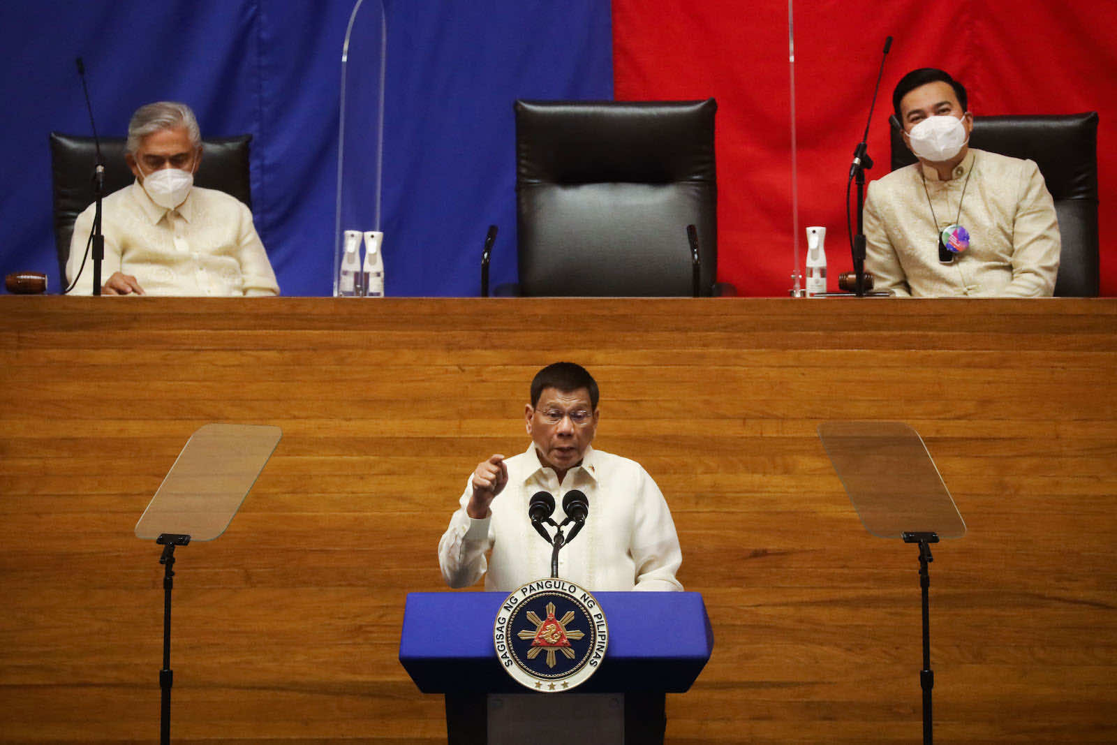 Philippine President Rodrigo Duterte speaks during the annual state of the nation address at the House of Representatives in Manila on 26 July (Lisa Marie David/AFP via Getty Images)