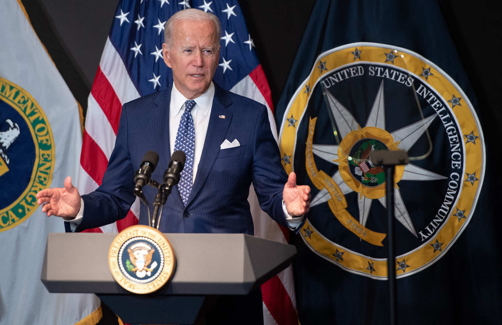 US President Joe Biden addresses the Intelligence Community workforce on a tour at the Office of the Director of National Intelligence, Virginia, 27 July (Saul Loeb/AFP via Getty Images)