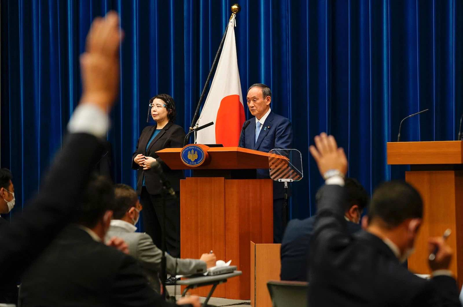 Japan's Prime Minister Yoshihide Suga during a news conference at his official residence in Tokyo on 17 August (Kimimasa Mayama/AFP via Getty Images)