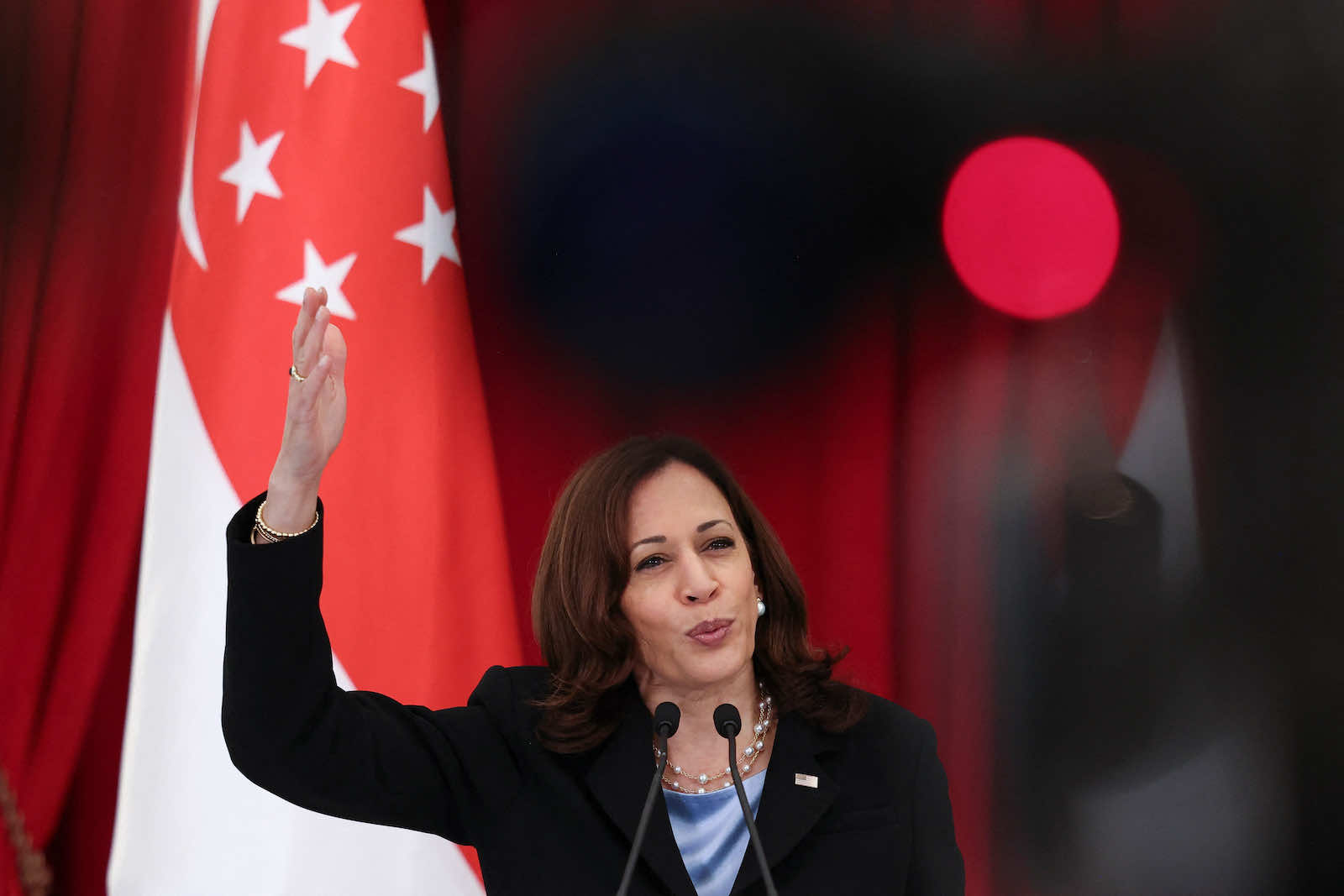 US Vice President Kamala Harris during a joint news conference with Singapore's Prime Minister Lee Hsien Loong in August (Evelyn Hockstein/AFP via Getty Images)