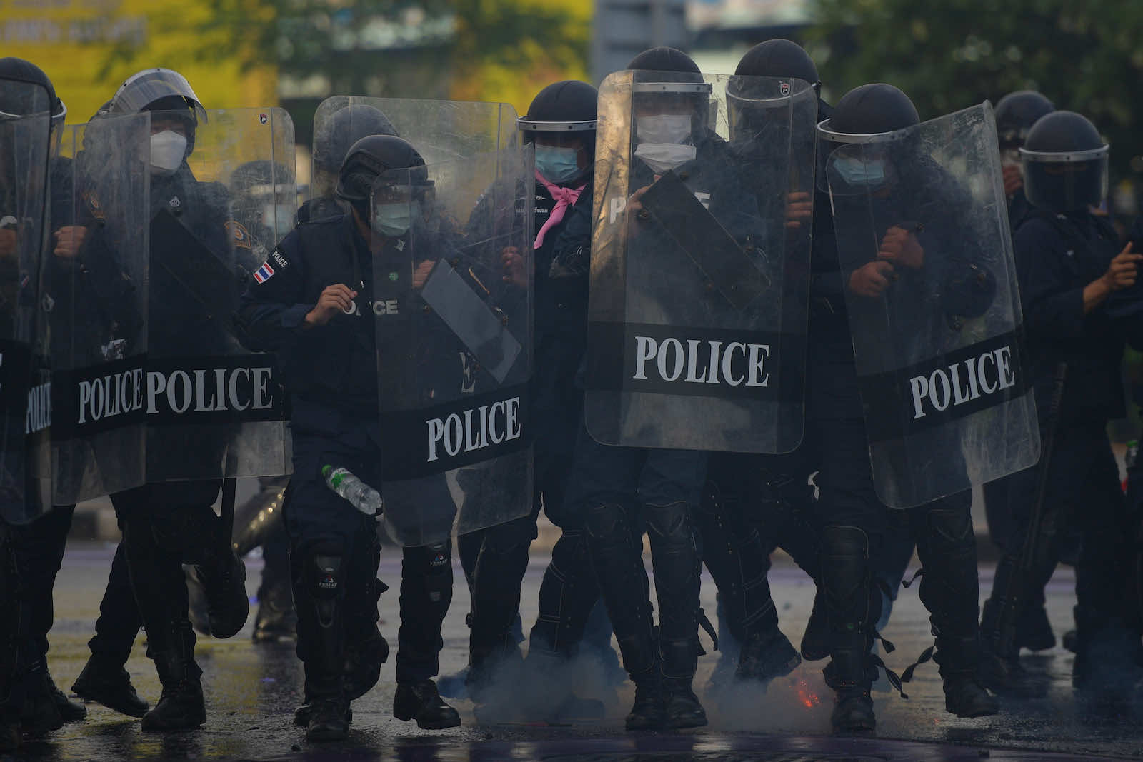 A police line during anti-government protests in Bangkok on 29 August (Vachira Vachira/NurPhoto via Getty Images)