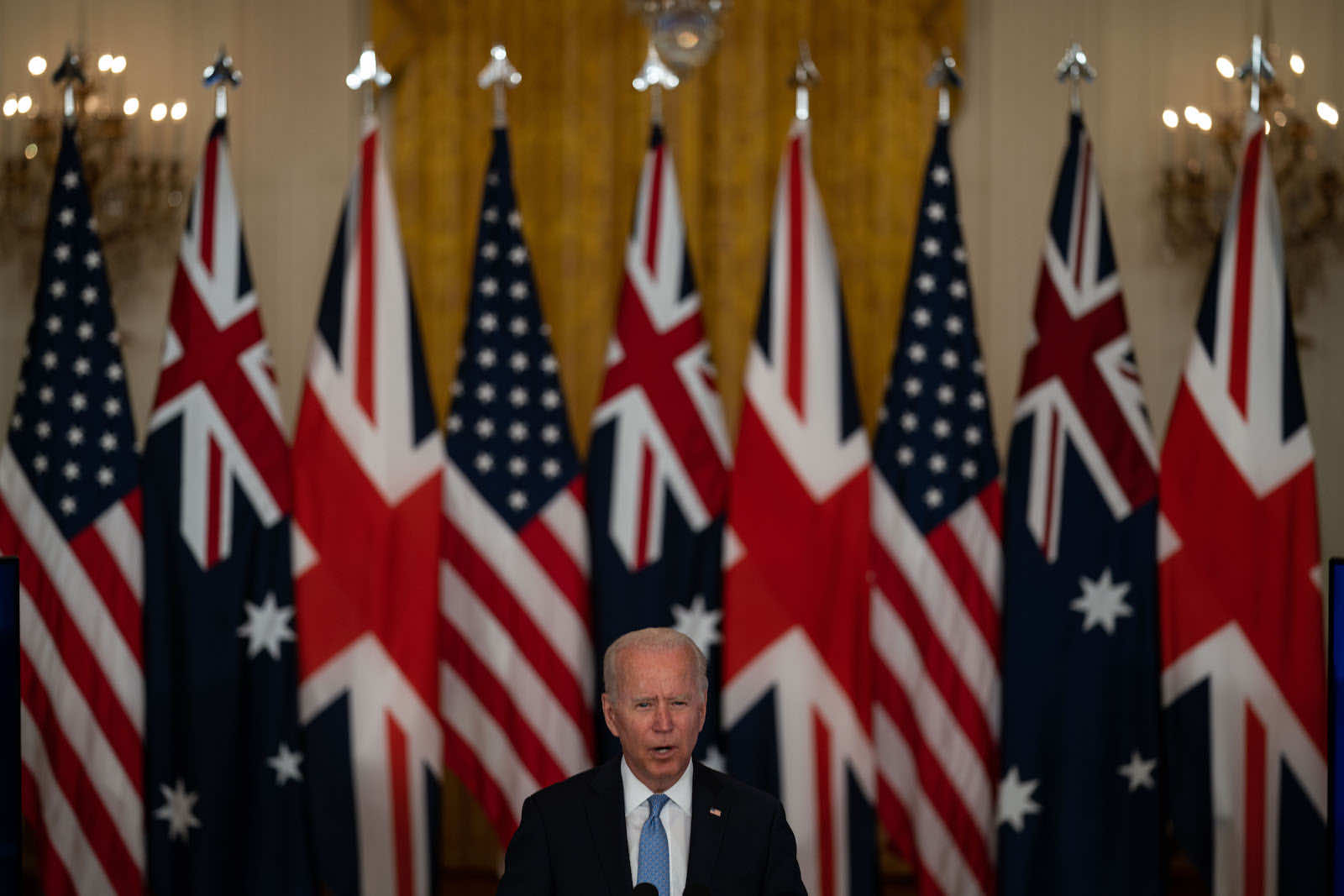 US President Joe Biden announcing that the United Staters along with the United Kingdom will share nuclear submarine technology with Australia under an arrangement dubbed AUKUS (Kent Nishimura/Los Angeles Times via Getty Images)