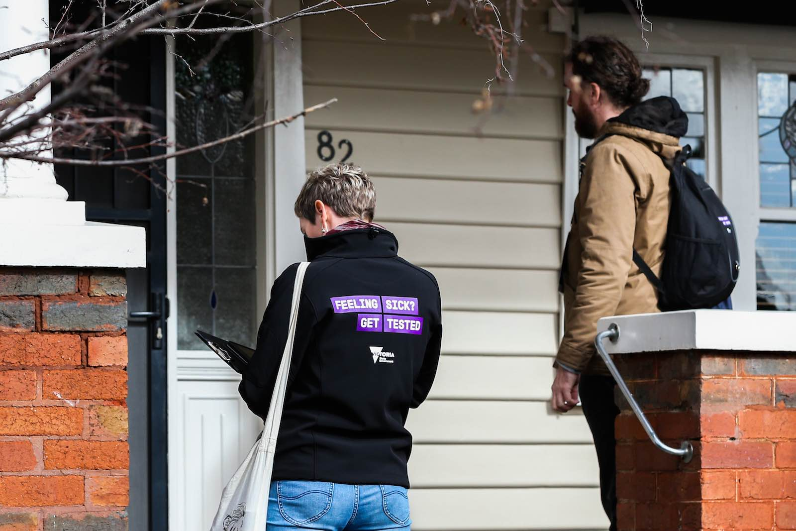 "A team of ""door knockers"" offer Covid-19 tests in Melbourne's inner northern suburbs (Asanka Ratnayake/Getty Images)"