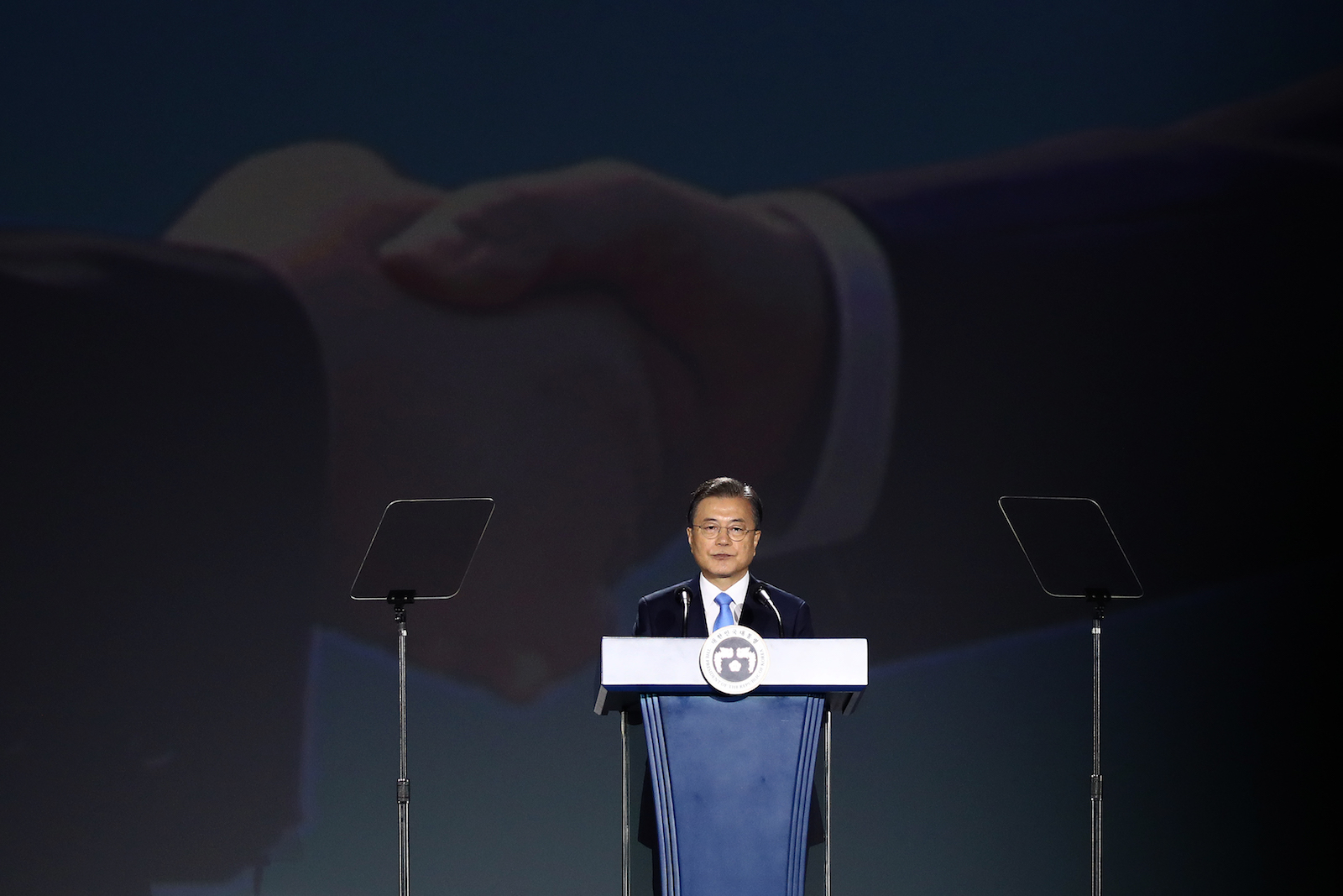 South Korean President Moon Jae-in speaking on the 75th anniversary of Liberation Day, 15 August 2020 in Seoul (Chung Sung-Jun/Getty Images)