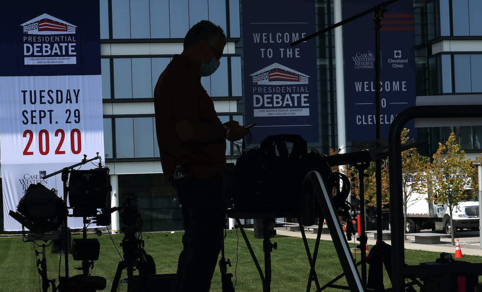 Media prepare for the first debate between President Donald Trump and Democratic nominee Joe Biden, to be held 29 September in Cleveland, Ohio (Win McNamee/Getty Images)