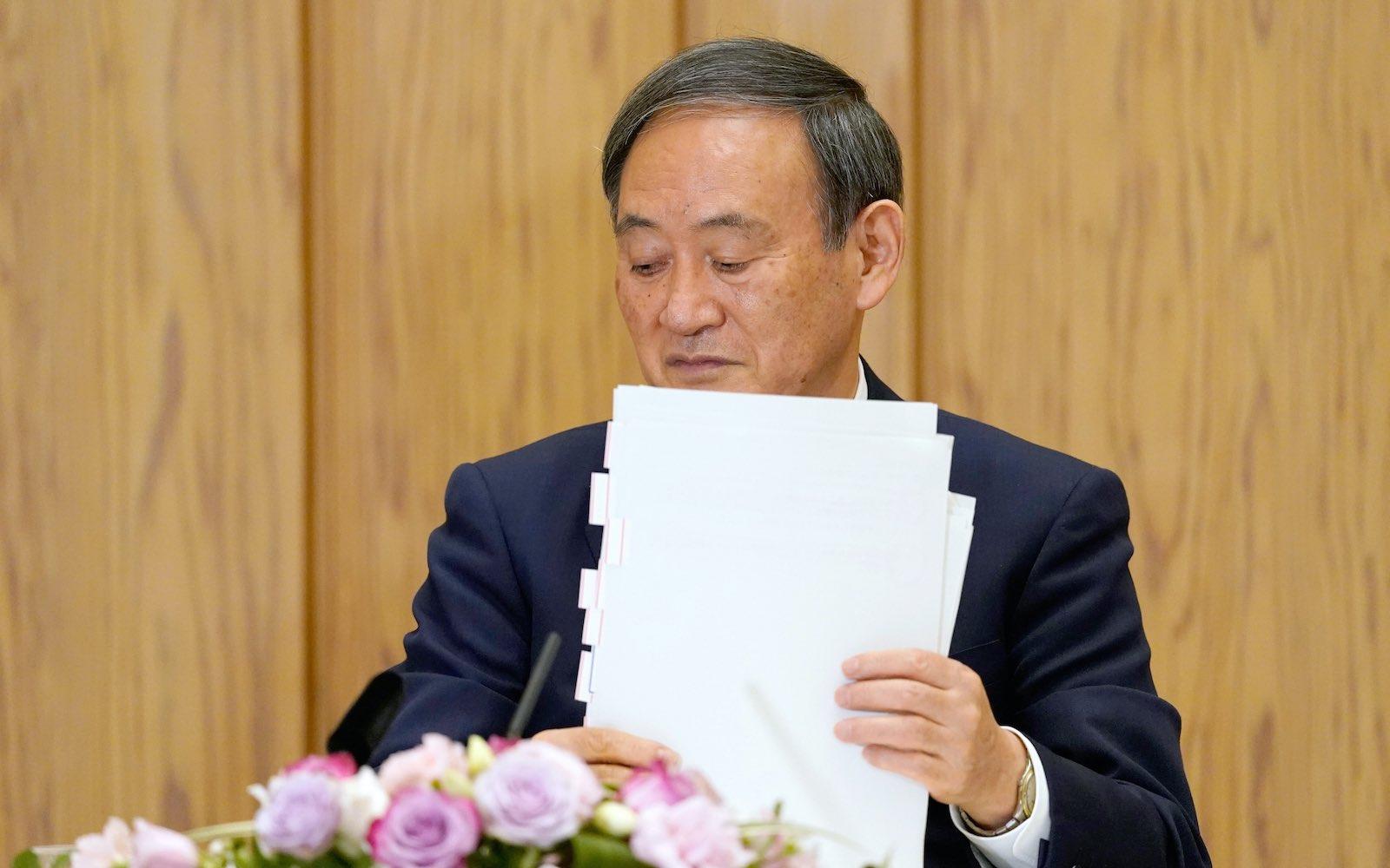 Japanese Prime Minister Yoshihide Suga, 9 October 2020 in Tokyo (The Asahi Shimbun via Getty Images)