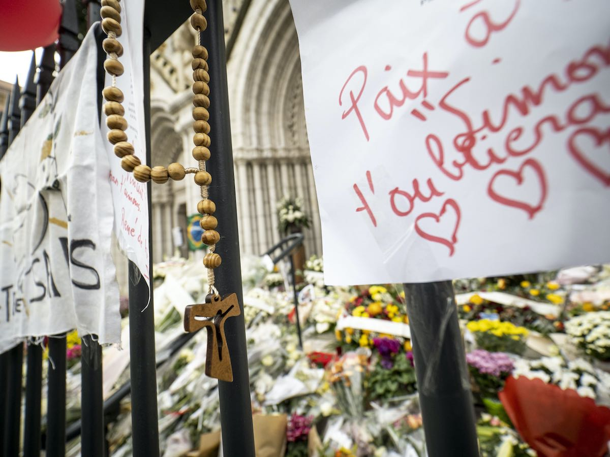 Memorials outside Notre Dame Basilica in Nice, France following the fatal stabbing of three people on 29 October (Arnold Jerocki/Getty Images)