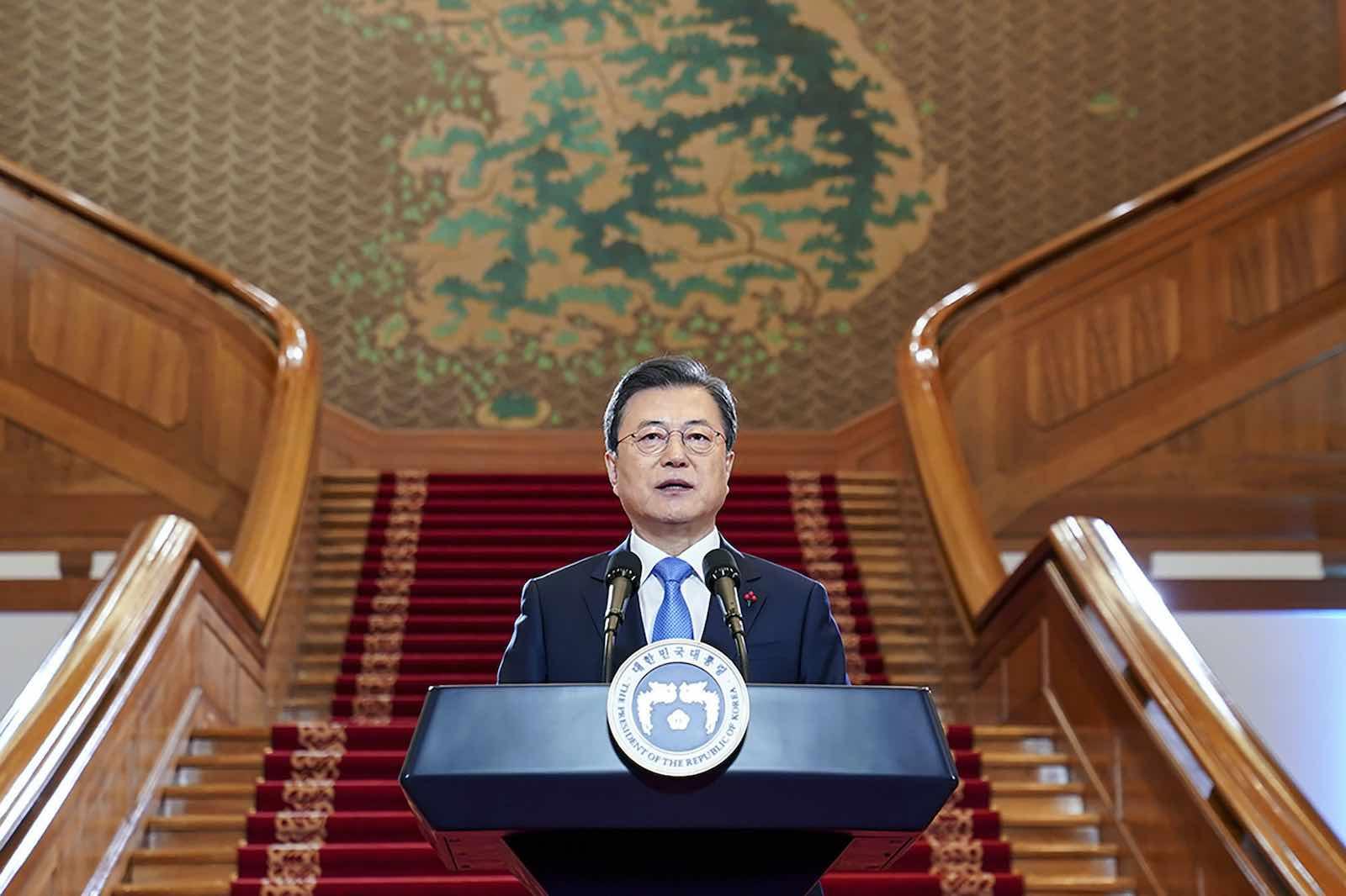 South Korean President Moon Jae-in (South Korean Presidential Blue House via Getty Images)
