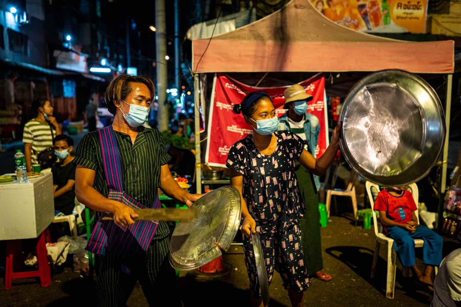Street protest in Yangon, 4 February (Stringer/Getty Images)
