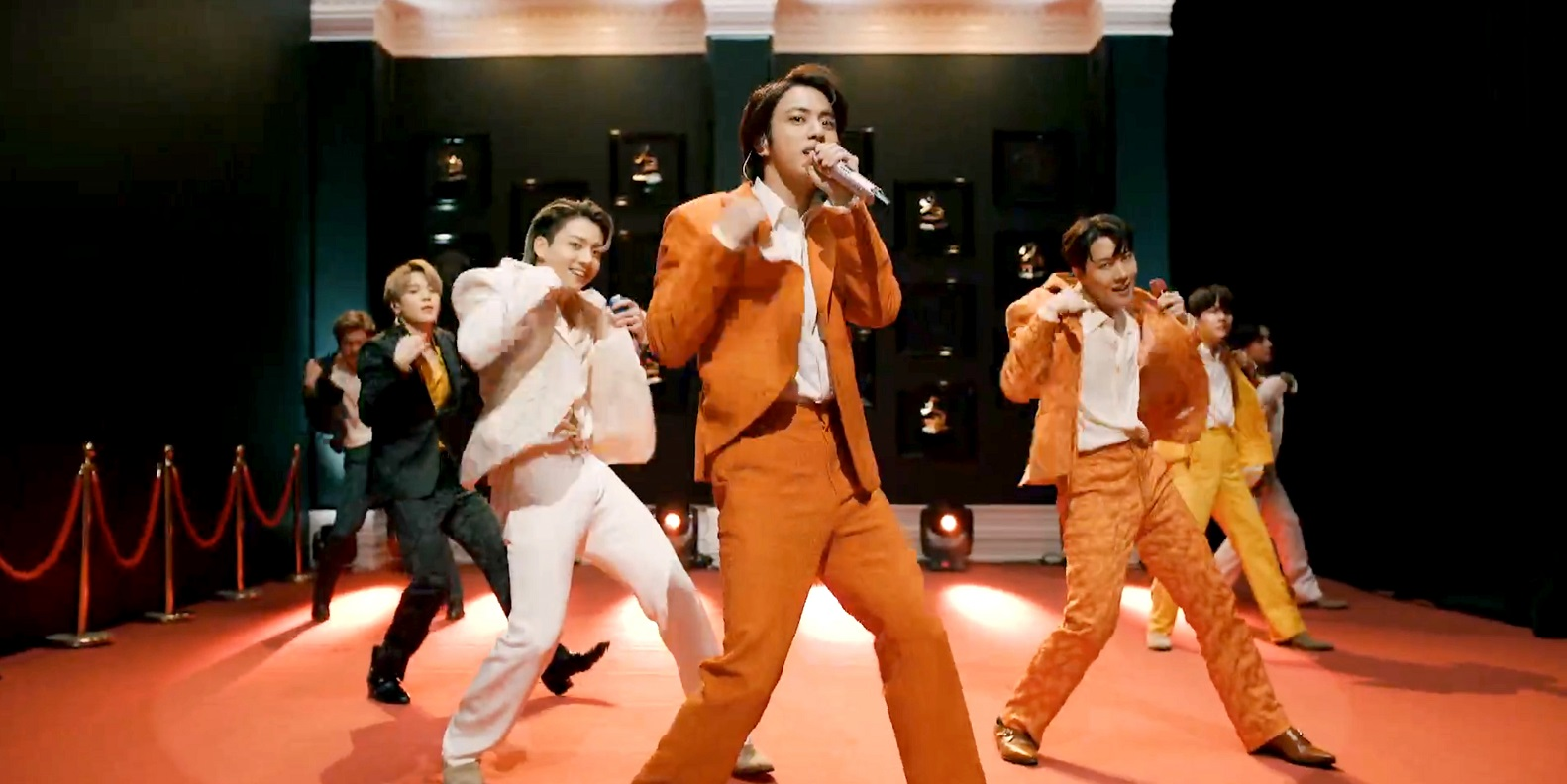 K-pop boy band BTS, in a screengrab from the 2021 Grammy Awards broadcast (Theo Wargo/Getty Images for The Recording Academy)