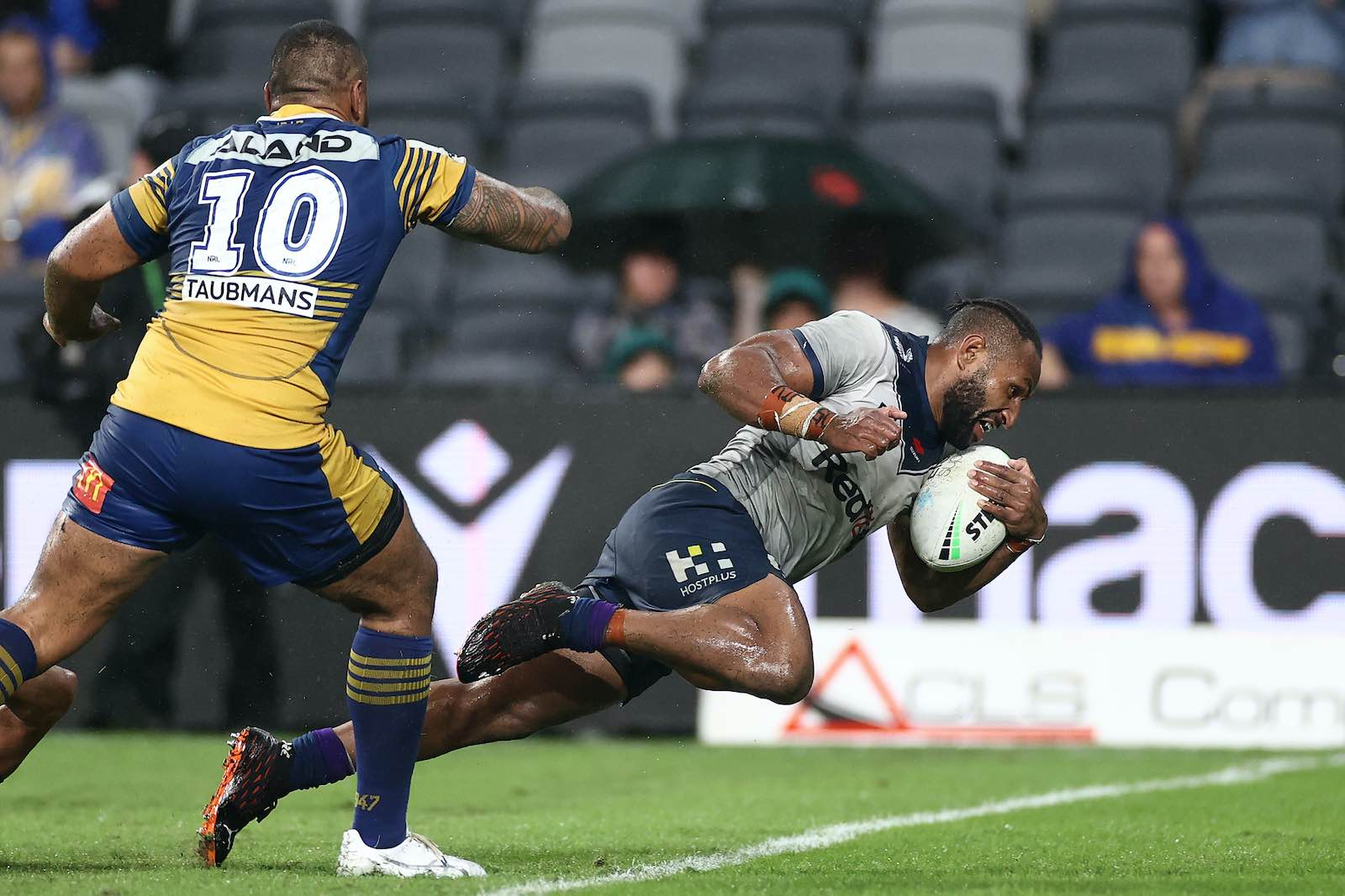 Justin Olam of the Melbourne Storm scores a try during the round two NRL match between the Parramatta Eels and the Melbourne Storm on 18 March 2021 (Cameron Spencer/Getty Images)