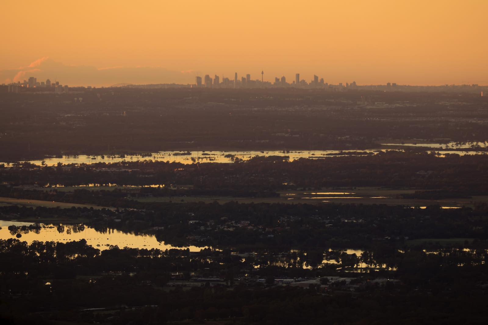 Floods in the Hawkesbury River region near Kurrajong Heights, with the Sydney skyline in the distance, 24 March 2021 (Mark Evans/Getty Images)