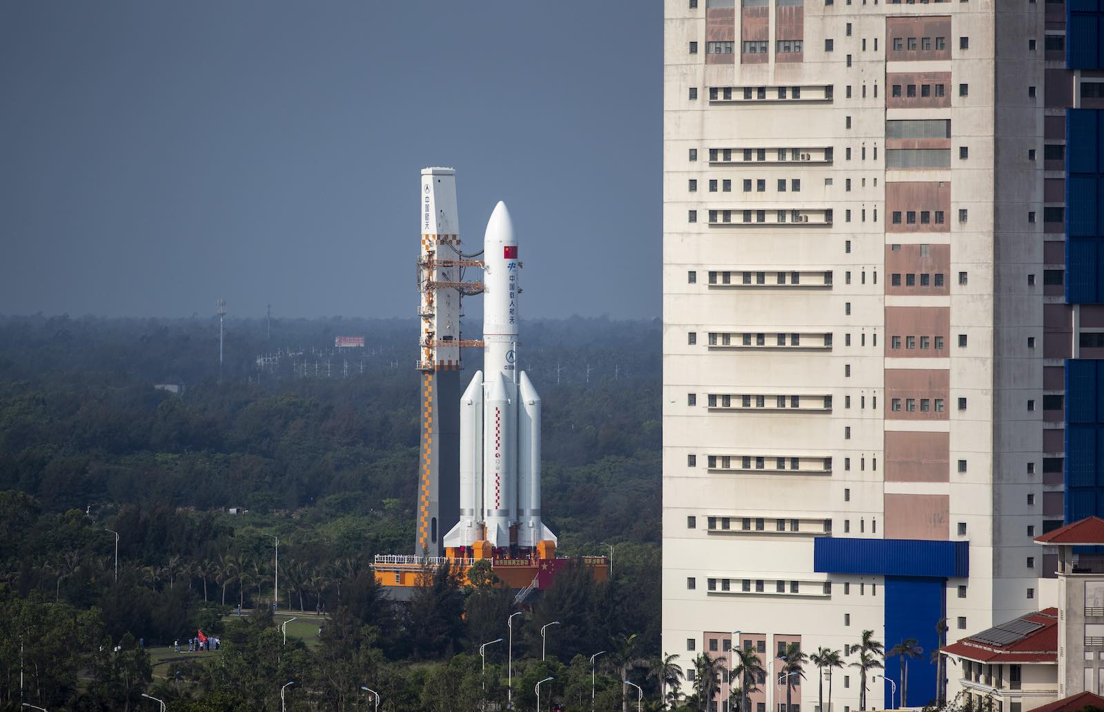 The rocket carrying the core module of China's space station, Tianhe, stands at the launching area of the Wenchang spacecraft launch site on 23 April 2021 in Hainan province (VCG via Getty Images)