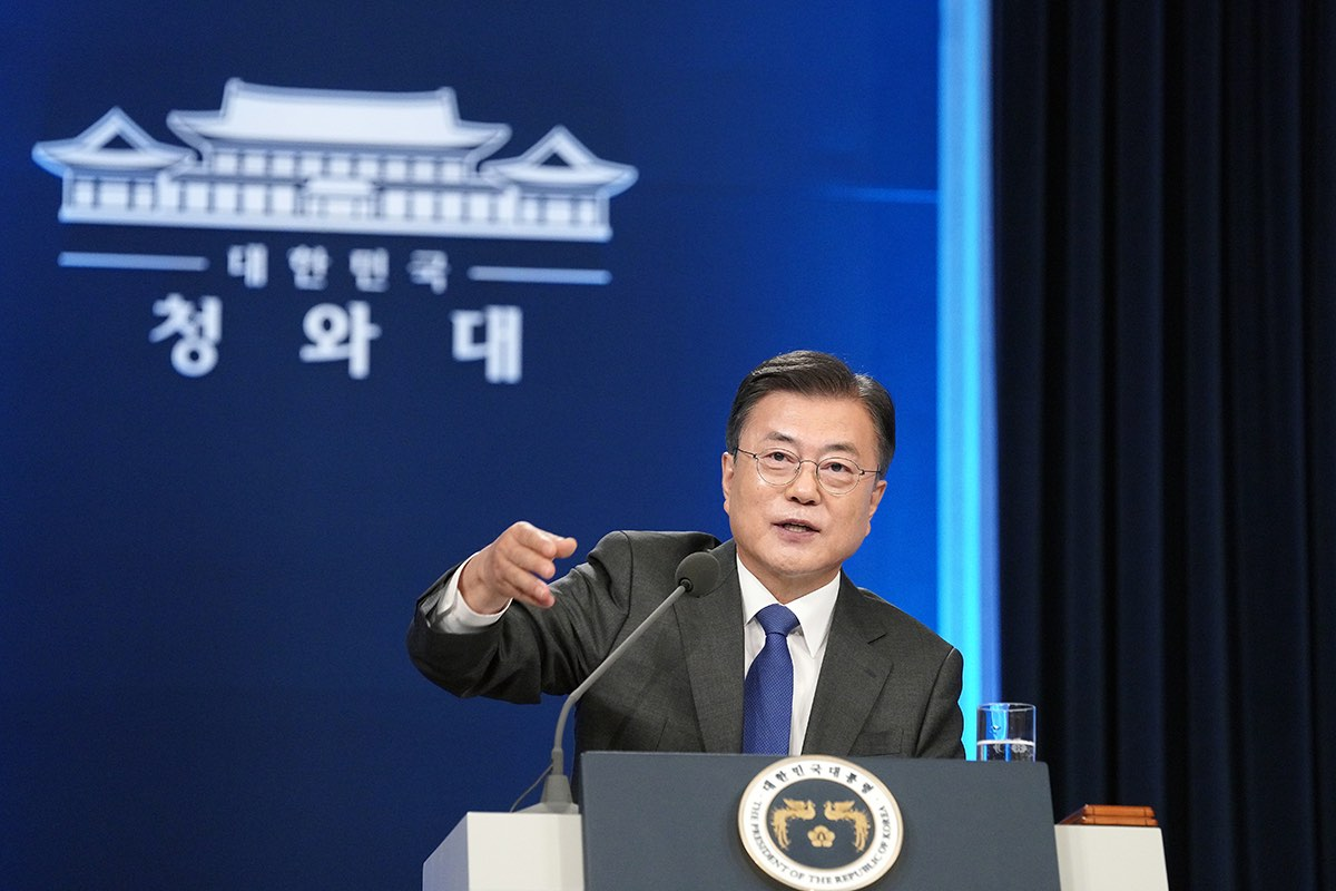 Moon Jae-in delivers a special address to mark the fourth anniversary of his inauguration at the presidential Blue House, Seoul, 10 May 2021 (Getty Images)