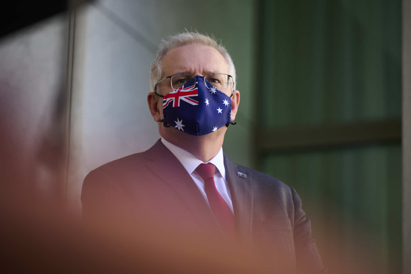 Prime Minister Scott Morrison at a media conference to discuss the airlift evacuation from Kabul (Rohan Thomson/Getty Images)