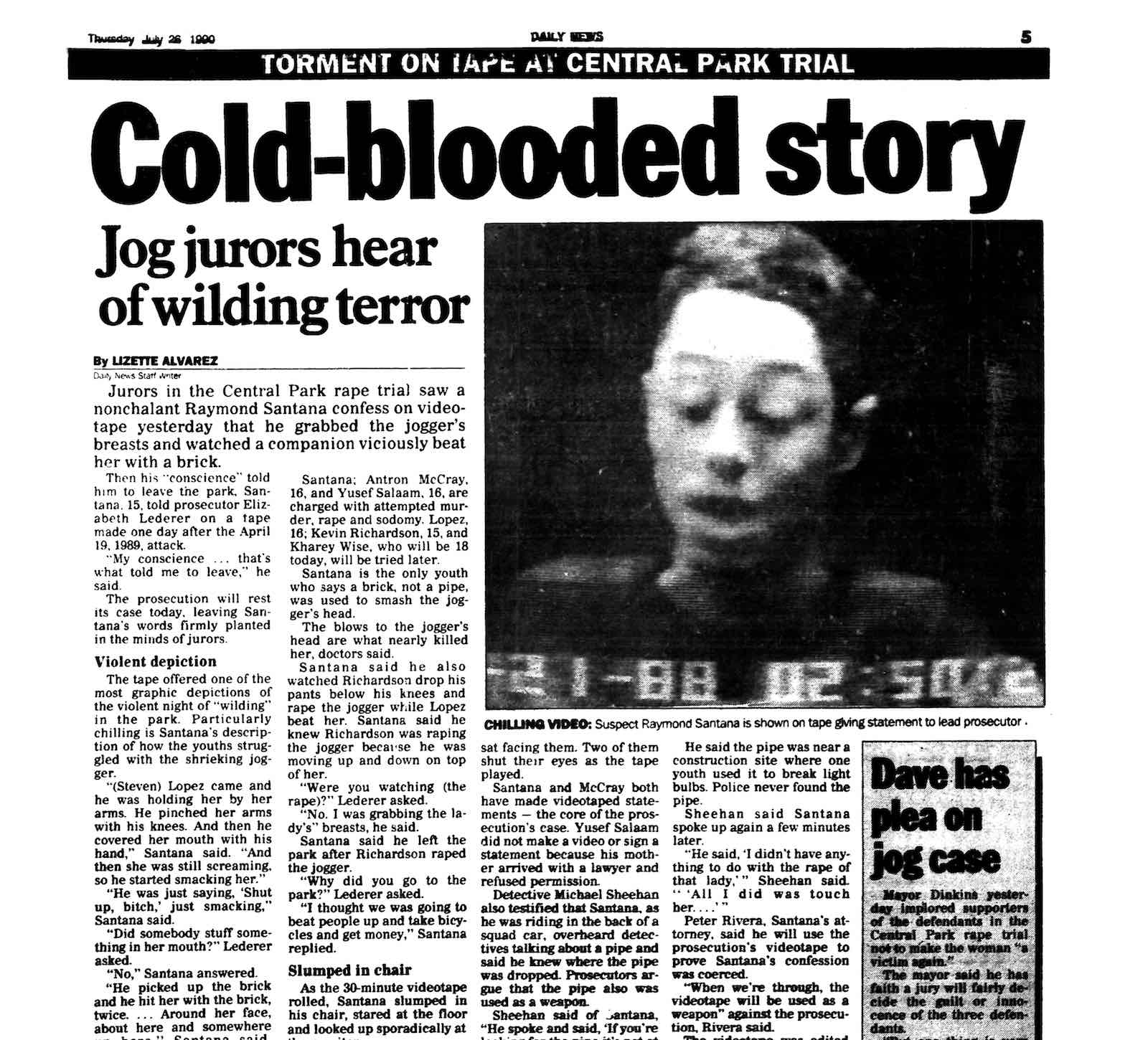 Page 3 coverage in the New York Daily News, 26 July 1990 (Photo: Getty Images)