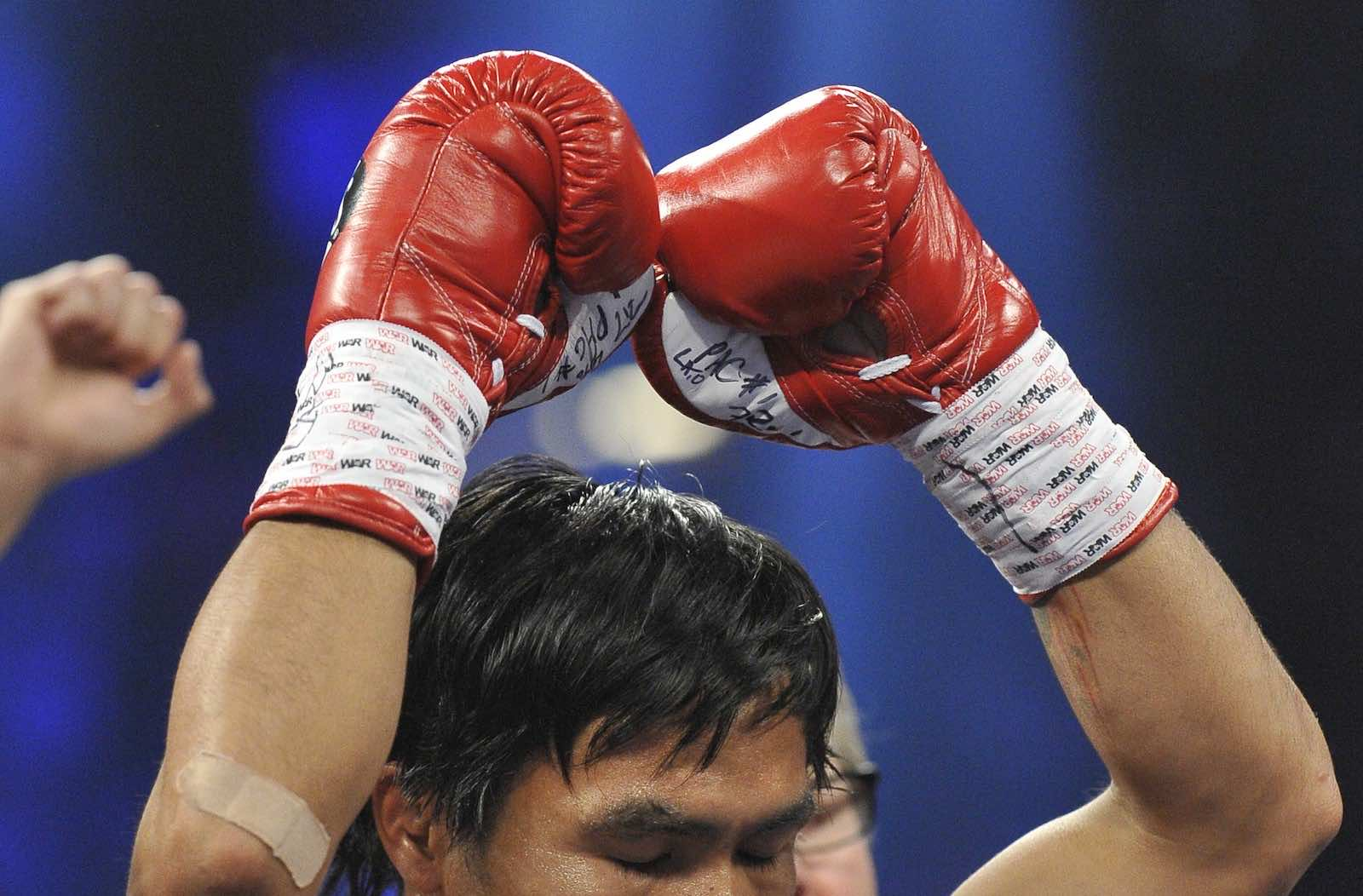 Manny Pacquiao, earlier in his boxing career, in Las Vegas, United States (Joe Klamar/AFP via GettyImages)