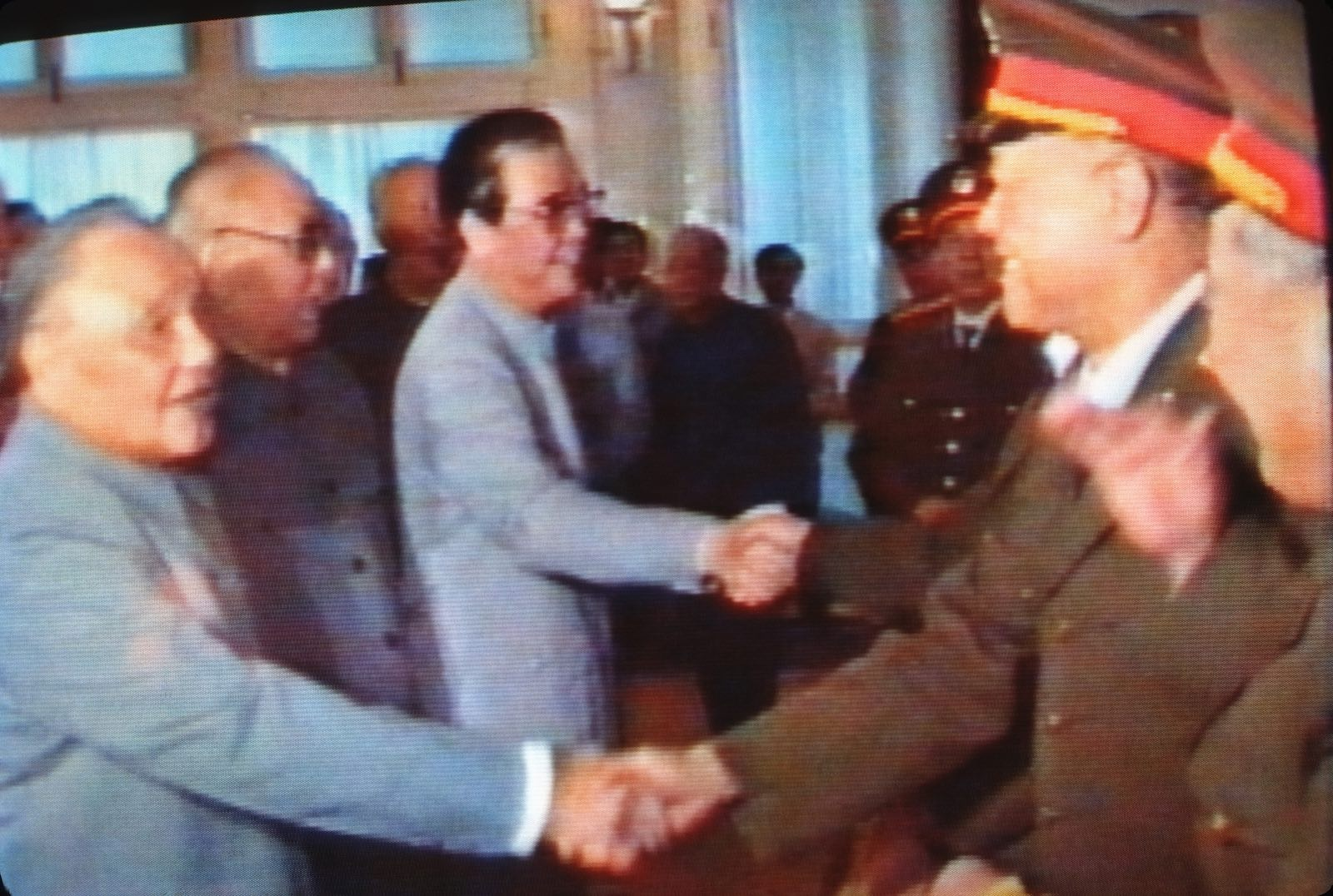 Broadcast from Chinese State Television in 1989 showing Deng Xiaoping congratulating soldiers for putting an end to the demonstrations in Tiananmen Square (Photo: Peter Charlesworth via Getty)