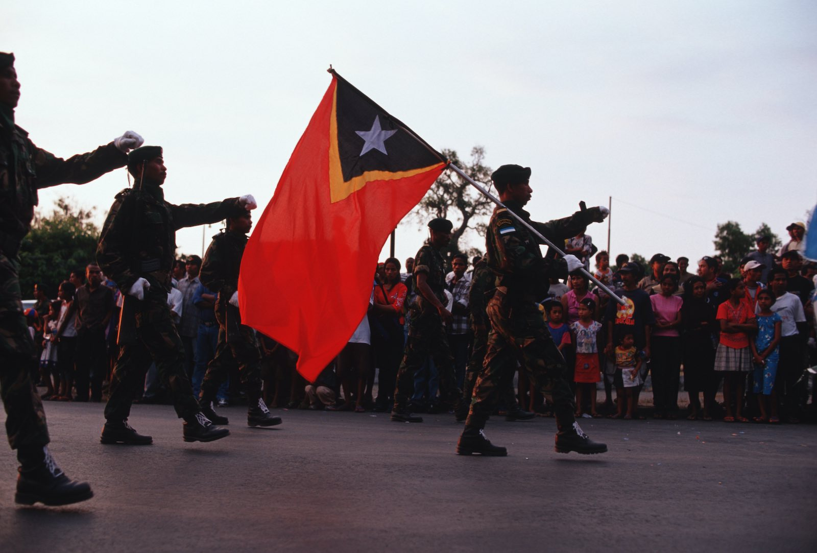 A parade on the anniversary of the founding of Falintil (Armed Forces of National Liberation of East Timor), Dili, 1 August 2002 (Jerry Redfern/LightRocket via Getty Images)