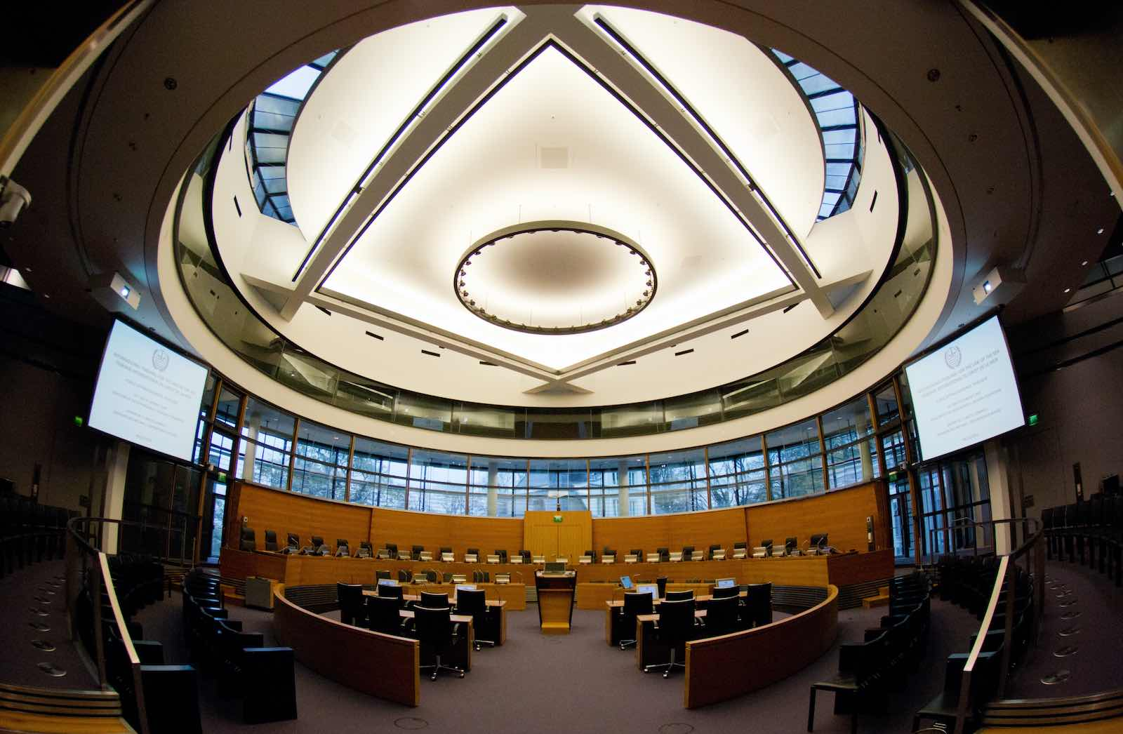 The courtroom of the International Tribunal for the Law of the Sea, in Hamburg, Germany (Christian Charisius/DPA/AFP via Getty Images)