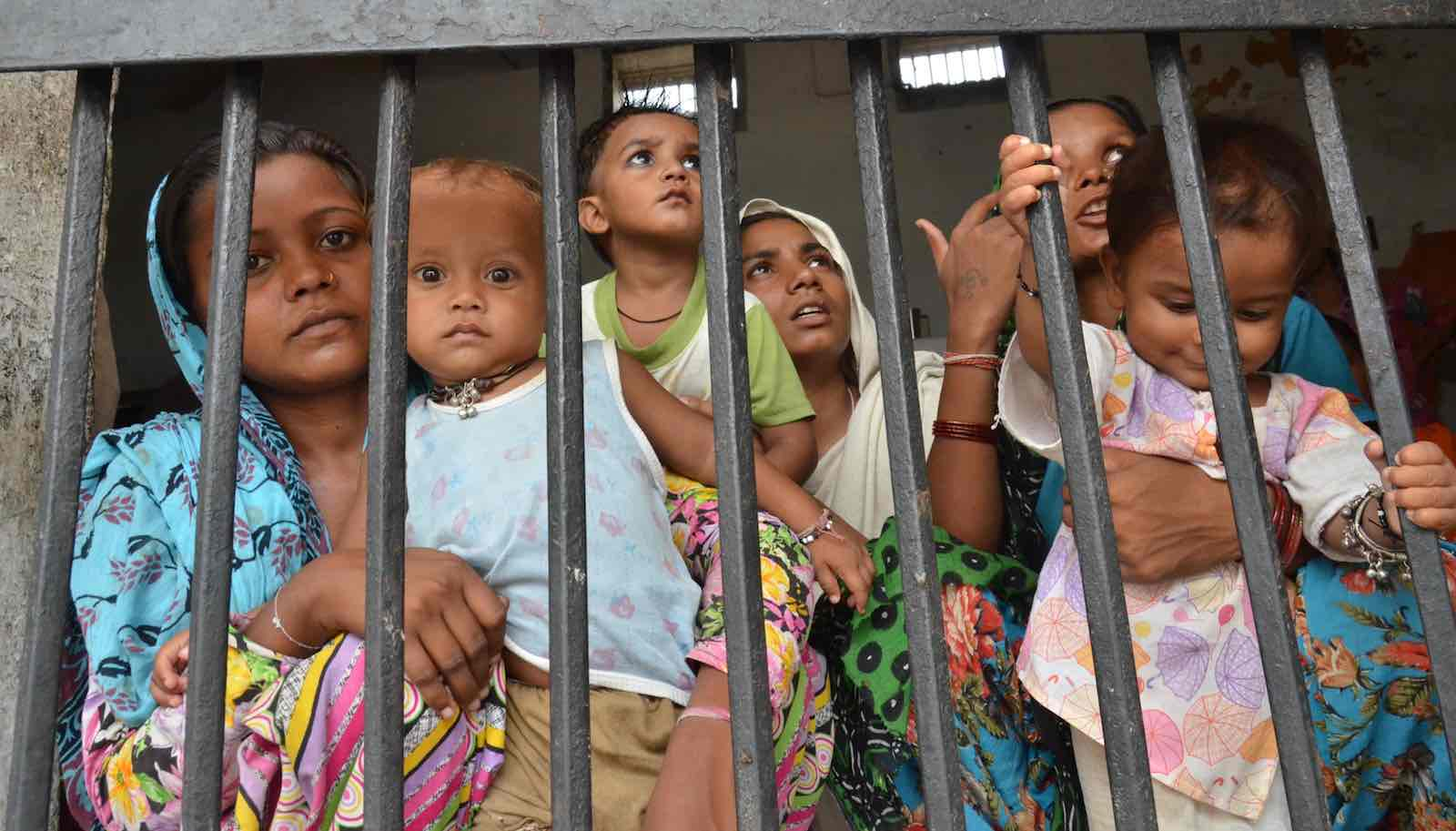 Women inmates bringing up their children behind bars in Amritsar, India, 2014 (Photo: Sameer Sehgal via Getty)