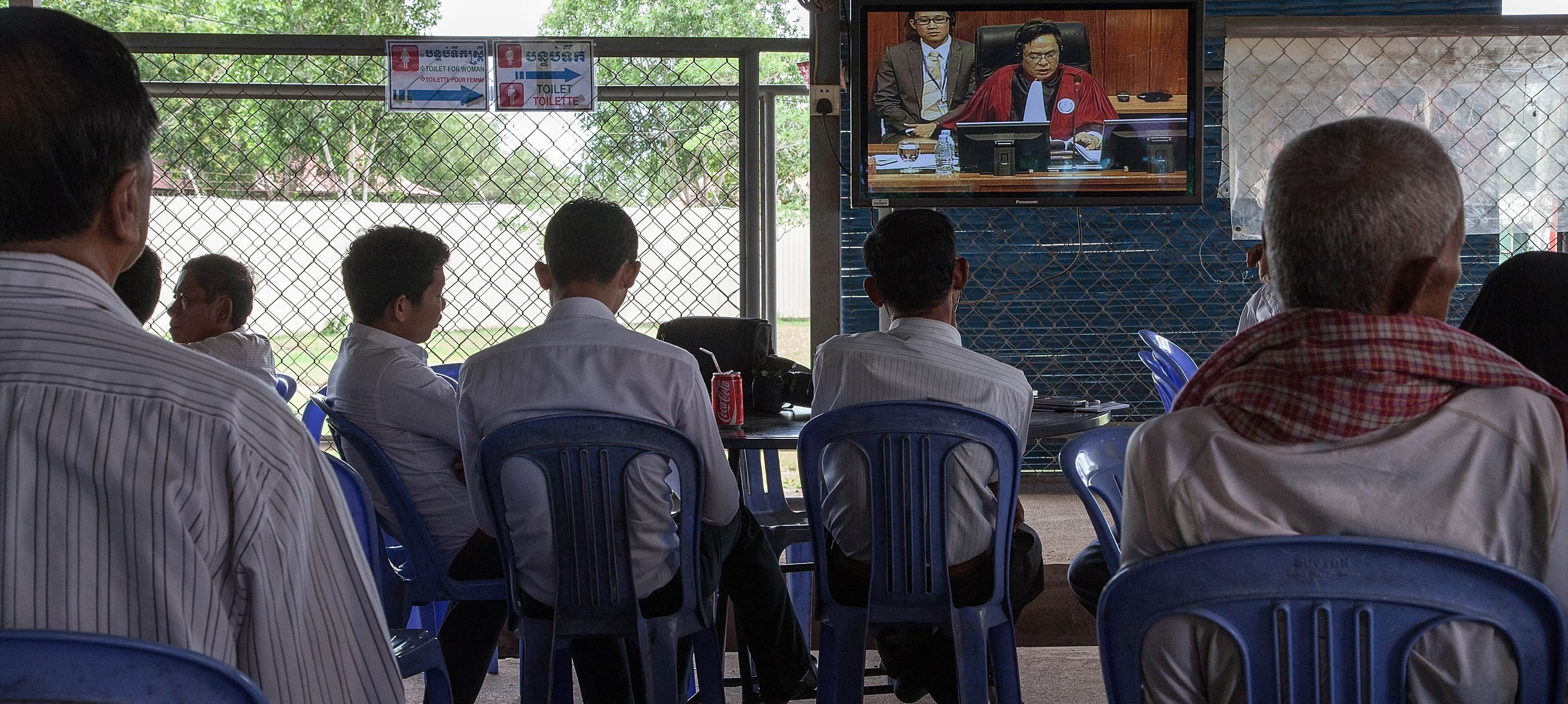 Cambodian survivors watching the guilty verdict for Nuon Chea and Khieu Samphan, August 2017 (Photo: Omar Havana/Getty Images)