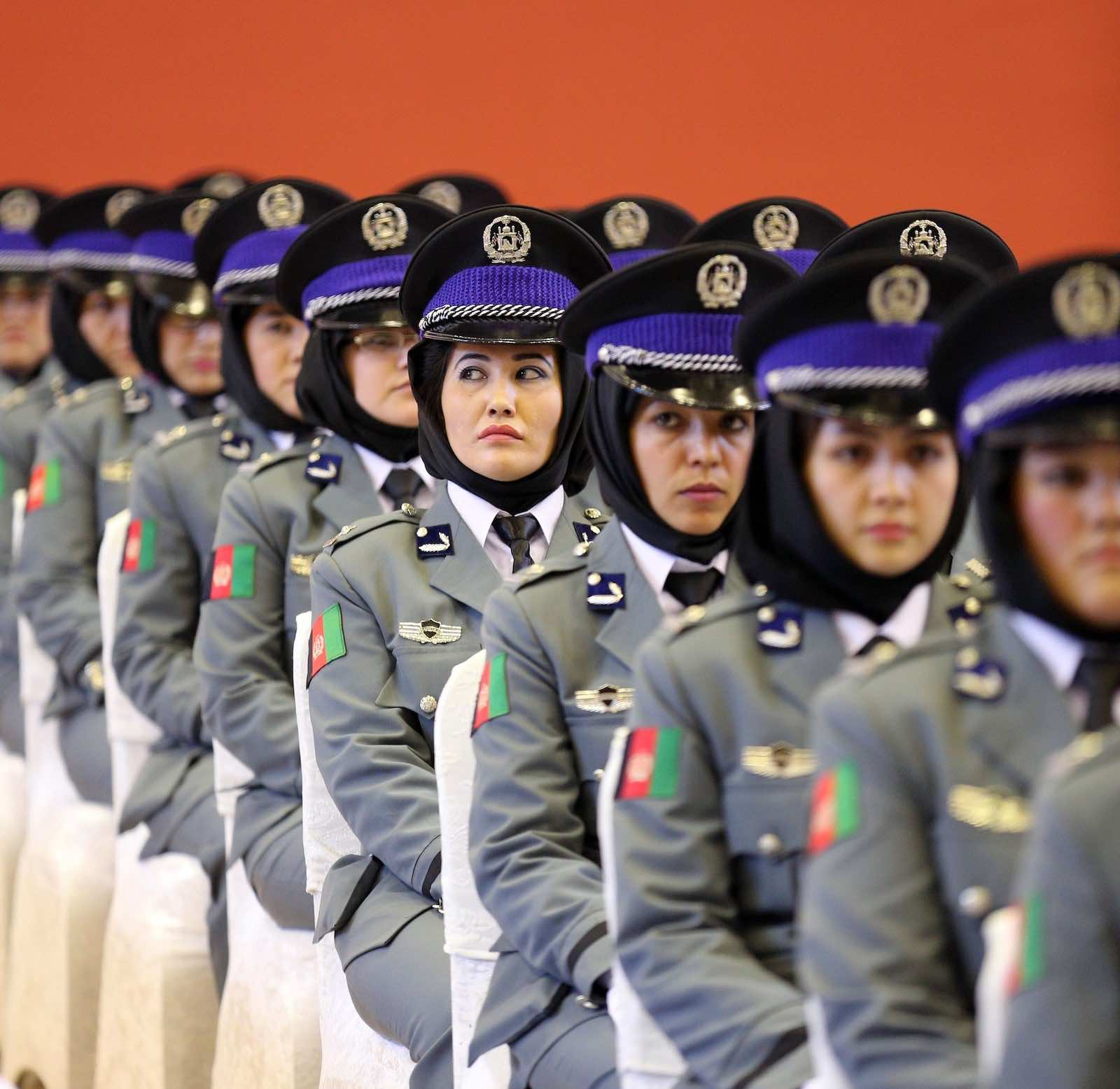 Afghani women police during a 2015 graduation ceremony (Serhat Cagdas/Anadolu Agency/Getty Images)