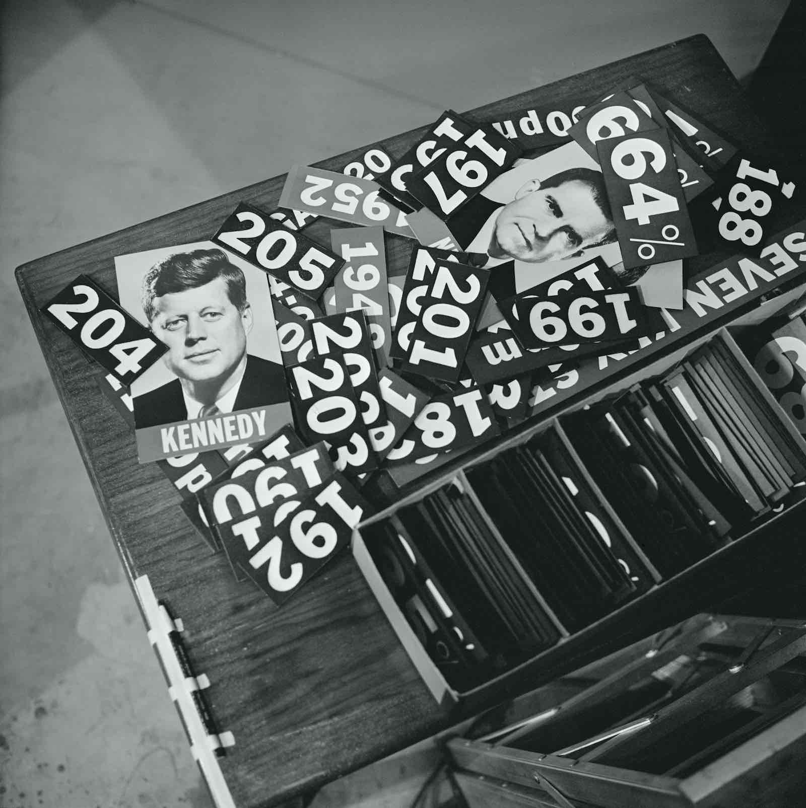 Tally board numbers for the 1960 US presidential election (CBS via Getty Images)