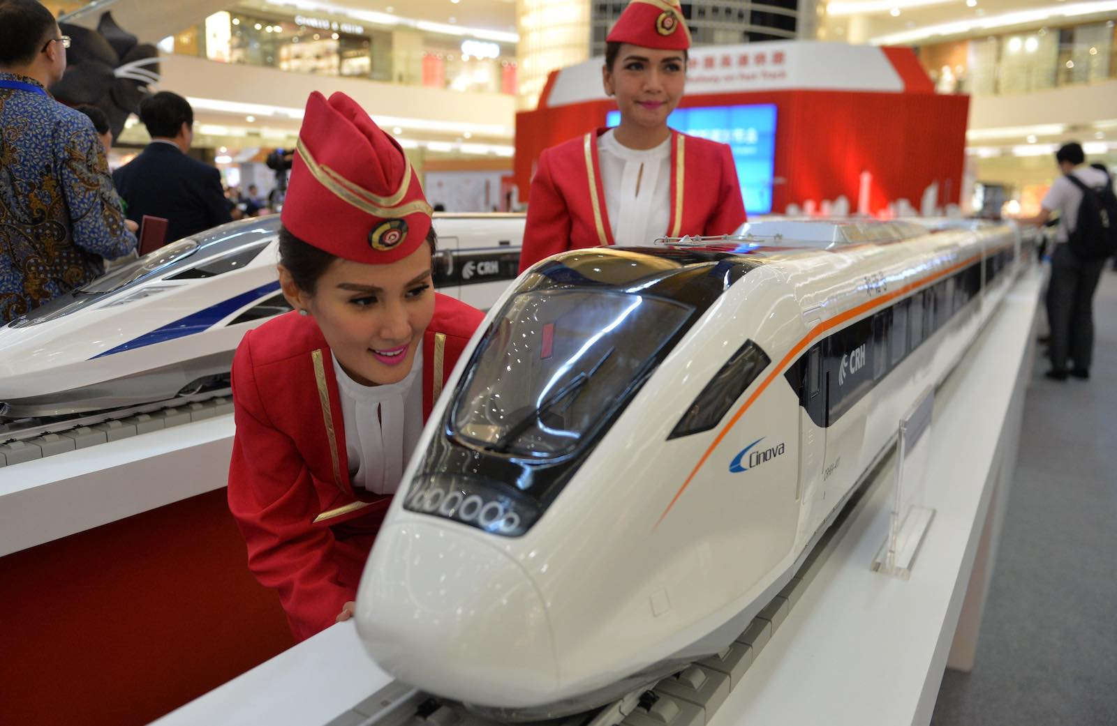 Models of Chinese-made bullet trains on exhibition in Jakarta (Photo: Bay Ismoyo via Getty)