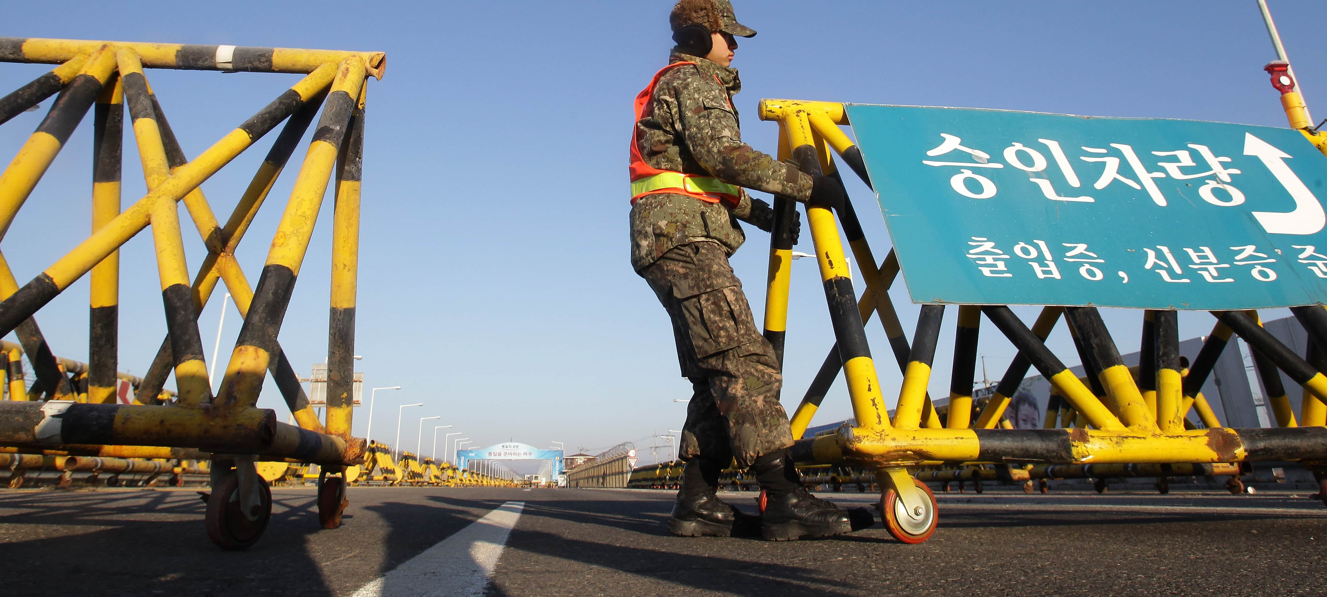 A South Korean soldier sets barricades on the road connecting South and North Korea (Photo: Chung Sung-Jun/Getty)