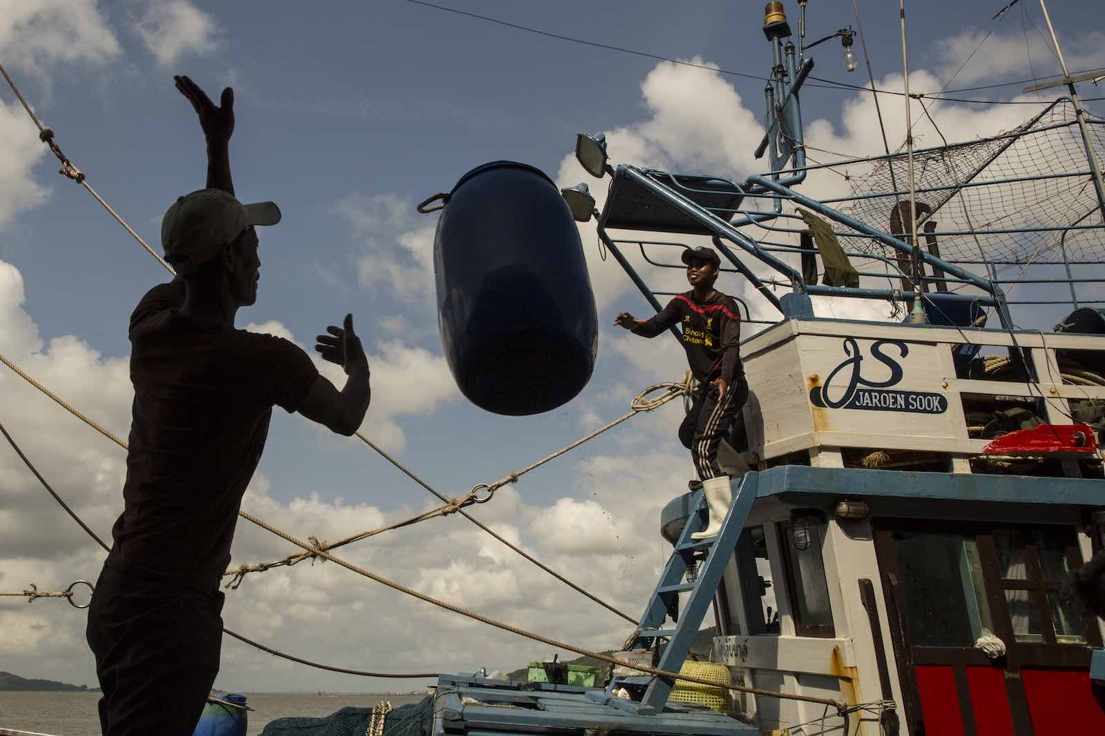 Boat workers in Songkhla, Thailand, February 2016. Thailand's multi-billion dollar seafood industry was found in 2015 to involve labour abuses, including slavery (Paula Bronstein/ Getty Images)