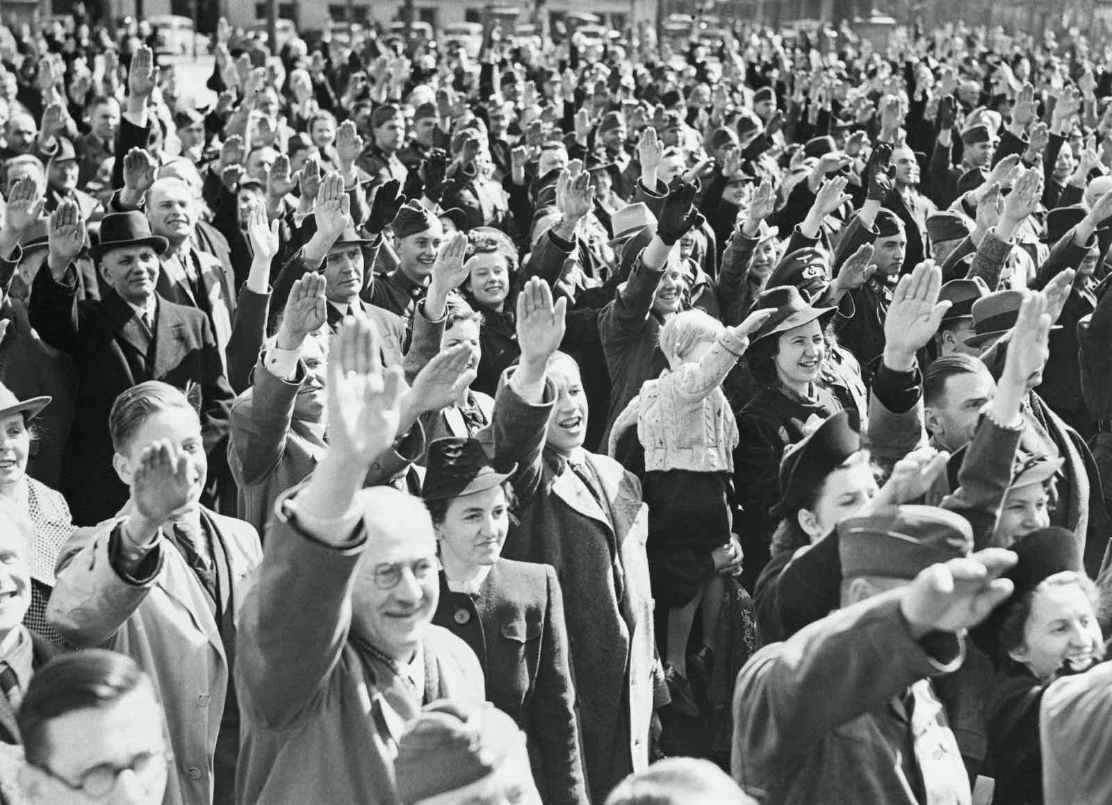 Crowds cheer Adolf Hitler on his 51st birthday in 1940 outside the Reich Chancellory, Berlin (Getty Images)