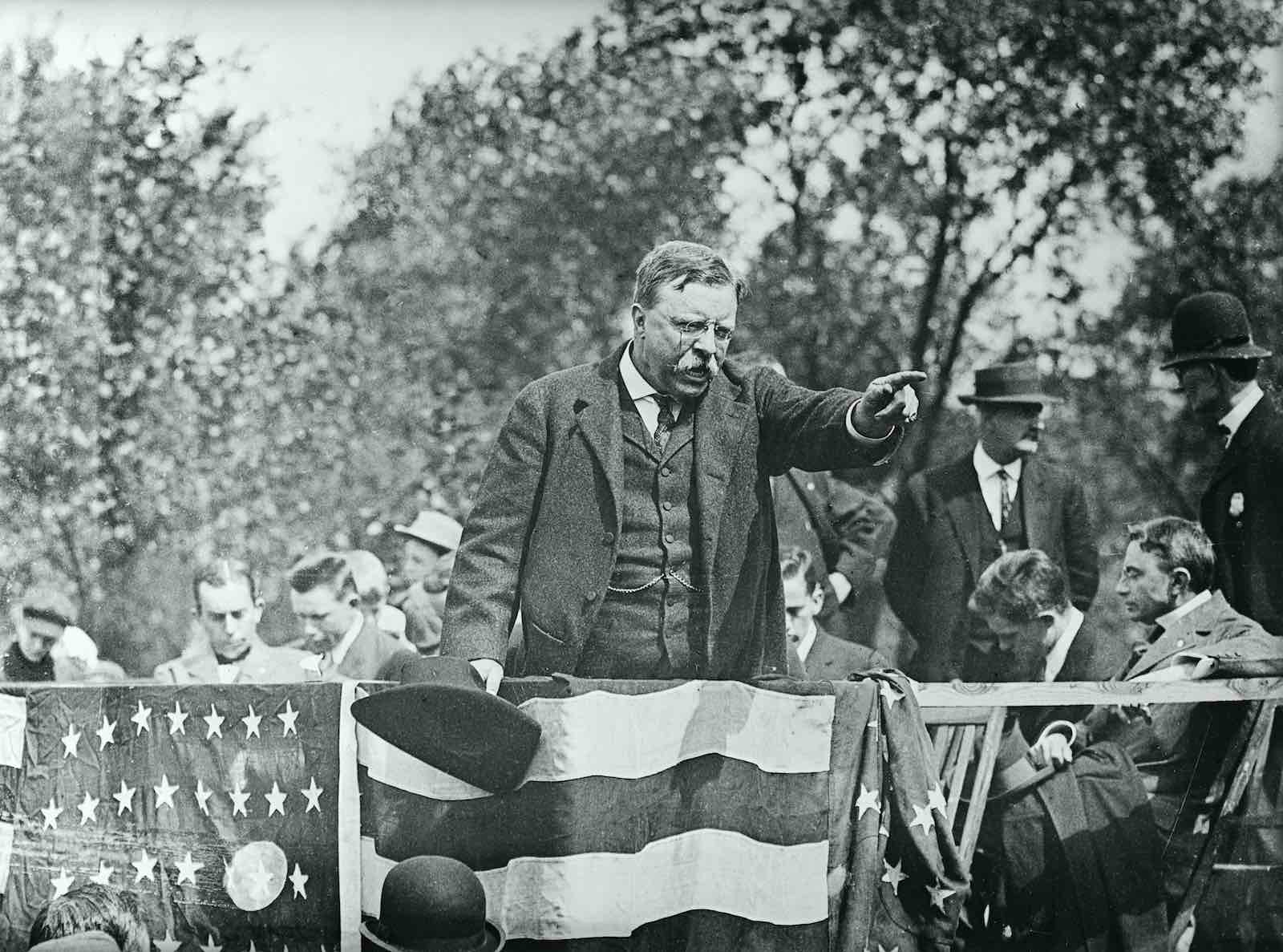 Theodore Roosevelt during a campaign rally speech circa 1900 (Bettmann via Getty Images)