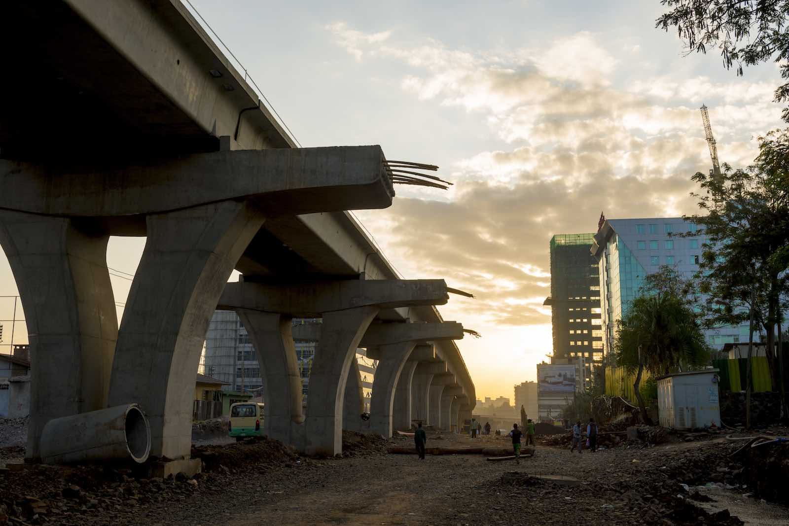 Light rail system under construction in Addis Ababa, Ethiopia, contracted by the China Railway Group Ltd (Photo: Yannick Tylle/Getty Images)