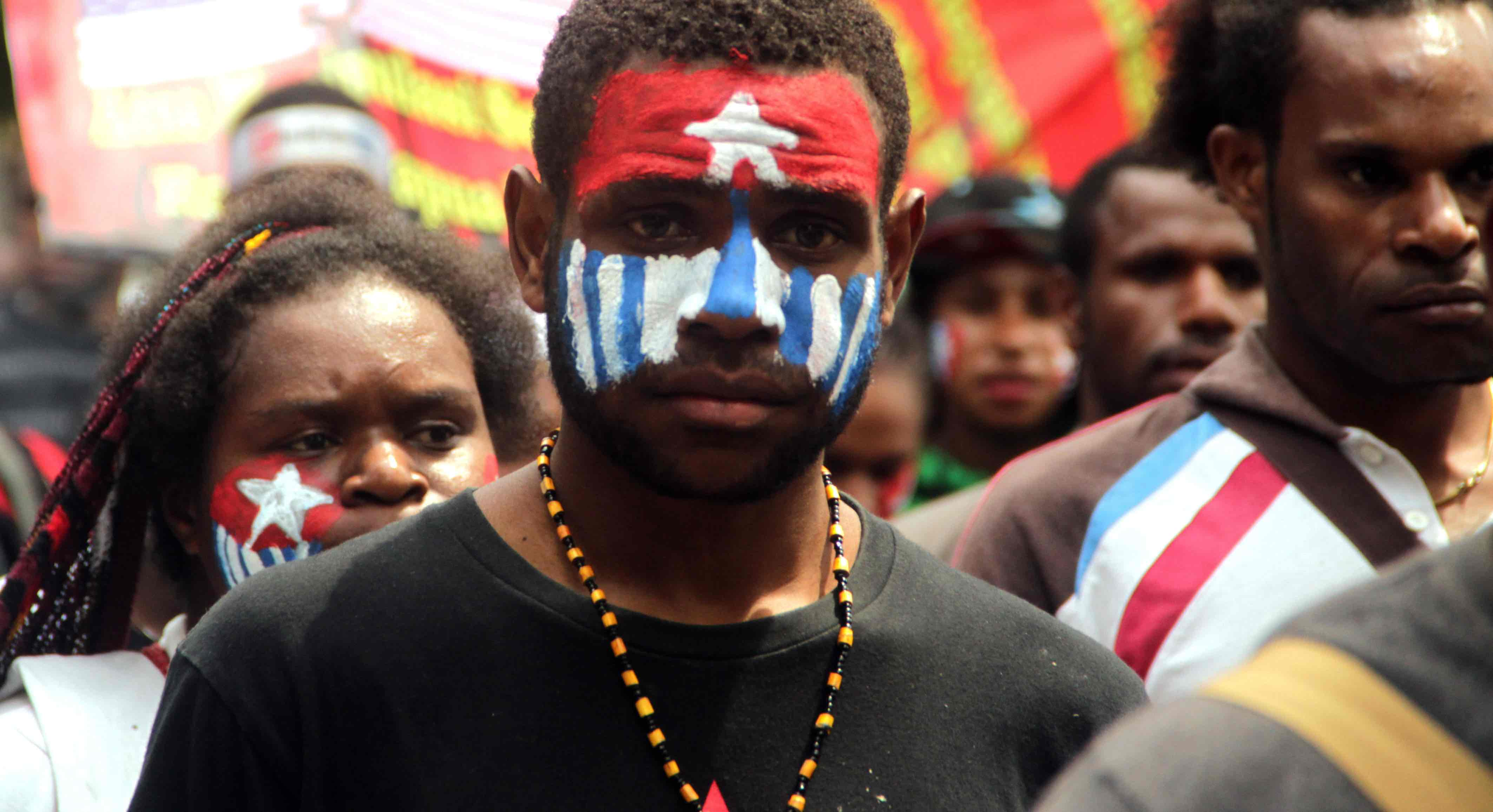 Students from the West Papua, Papua Student Alliance (AMP) demonstrate in Yogyakarta, Indonesia in 2014 (Photo: Slamet Riyadi/Getty)