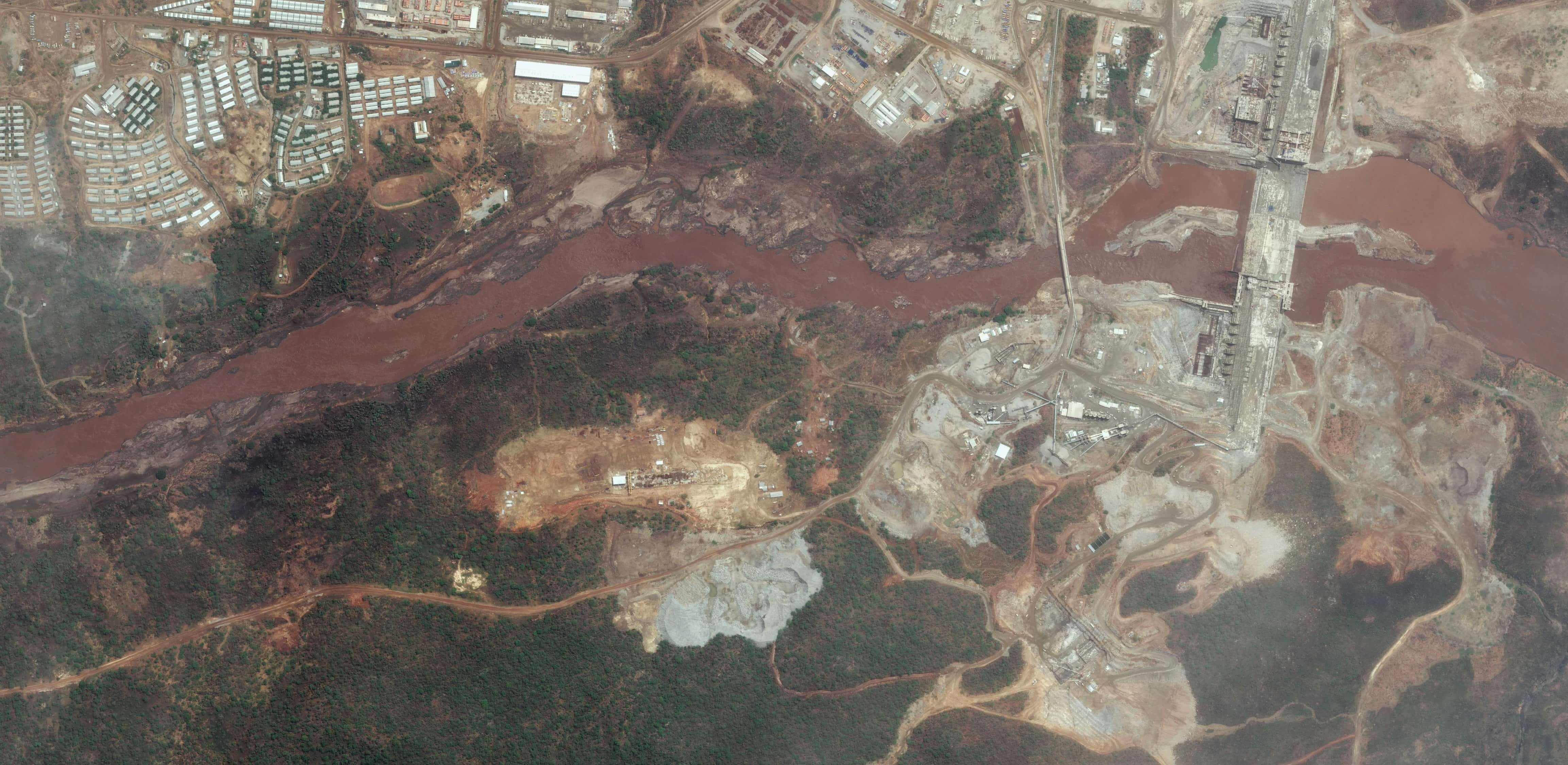 The Grand Ethiopian Renaissance Dam under construction, May 2016 (Photo: DigitalGlobe/Getty Images)