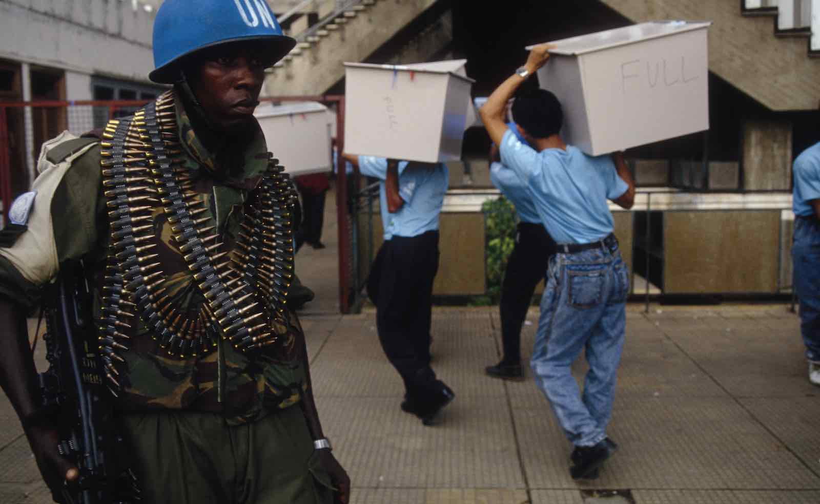 Ballot boxes are collected in Cambodia under UN supervision in 1993 (Photo: Noboru Hashimoto via Getty)