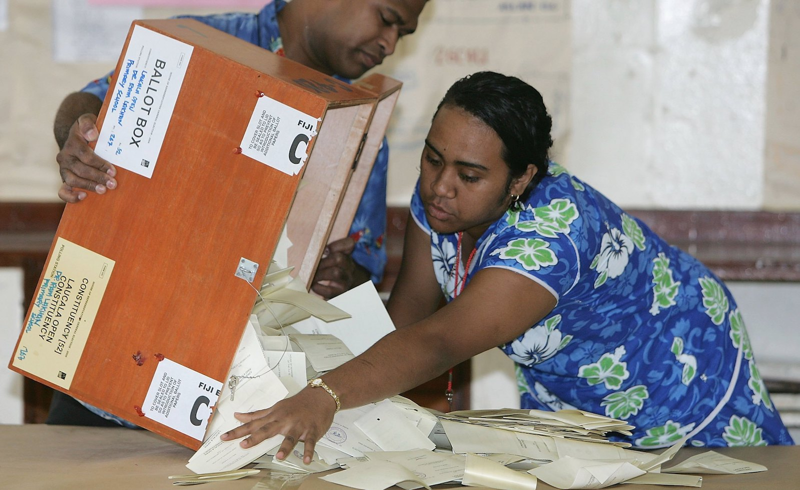 Workers empty a ballot box in Suva, Fiji in 2006 (Photo: Sandra Mu via Getty)