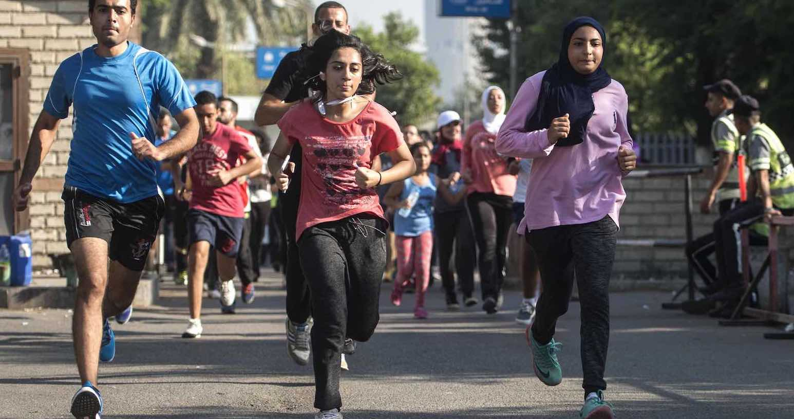 Cairo marathon competitors variously ran with the traffic, against the traffic, and occasionally needed to cross the traffic (Photo: Khaled Desouki via Getty)