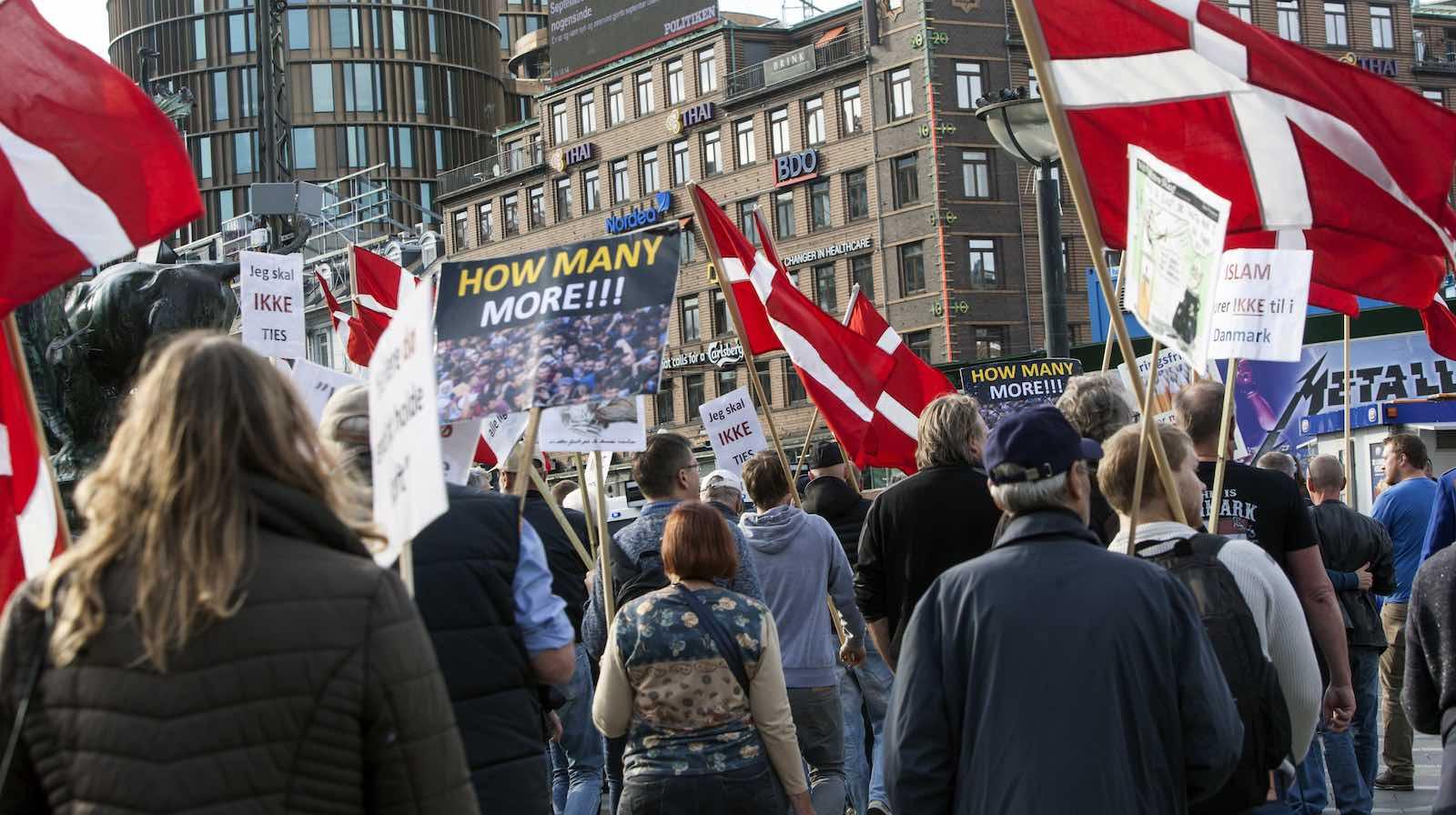 Protestors organised by For Freedom (Danish, read: For Frihed) demonstrate against Muslim through Copenhagen, Denmark, in 2016 (Photo: Ole Jensen via Getty)