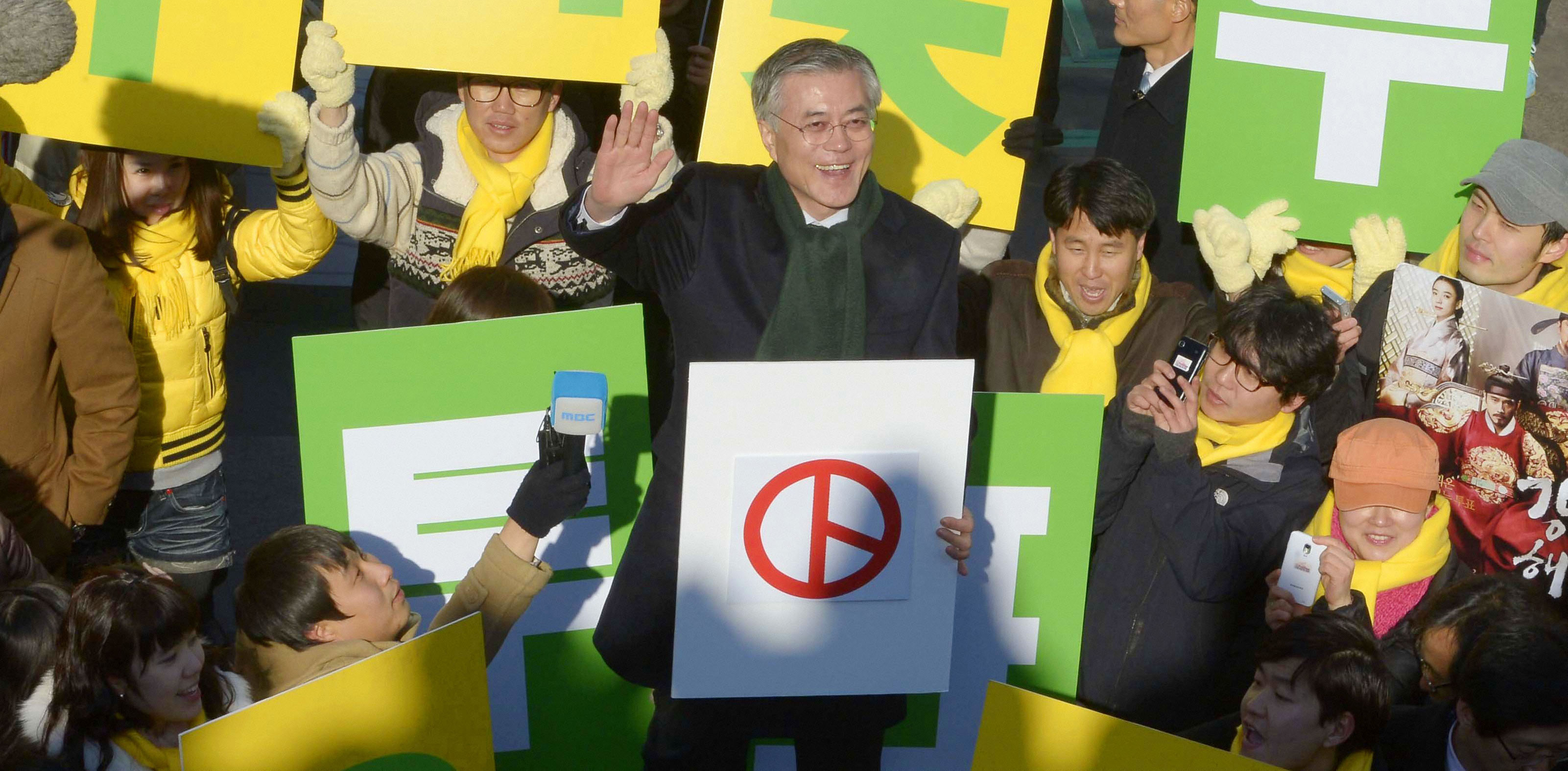 South Korean presidential candidate Moon Jae In during the 2012 campaign (Photo by Kyodo News via Getty Images)